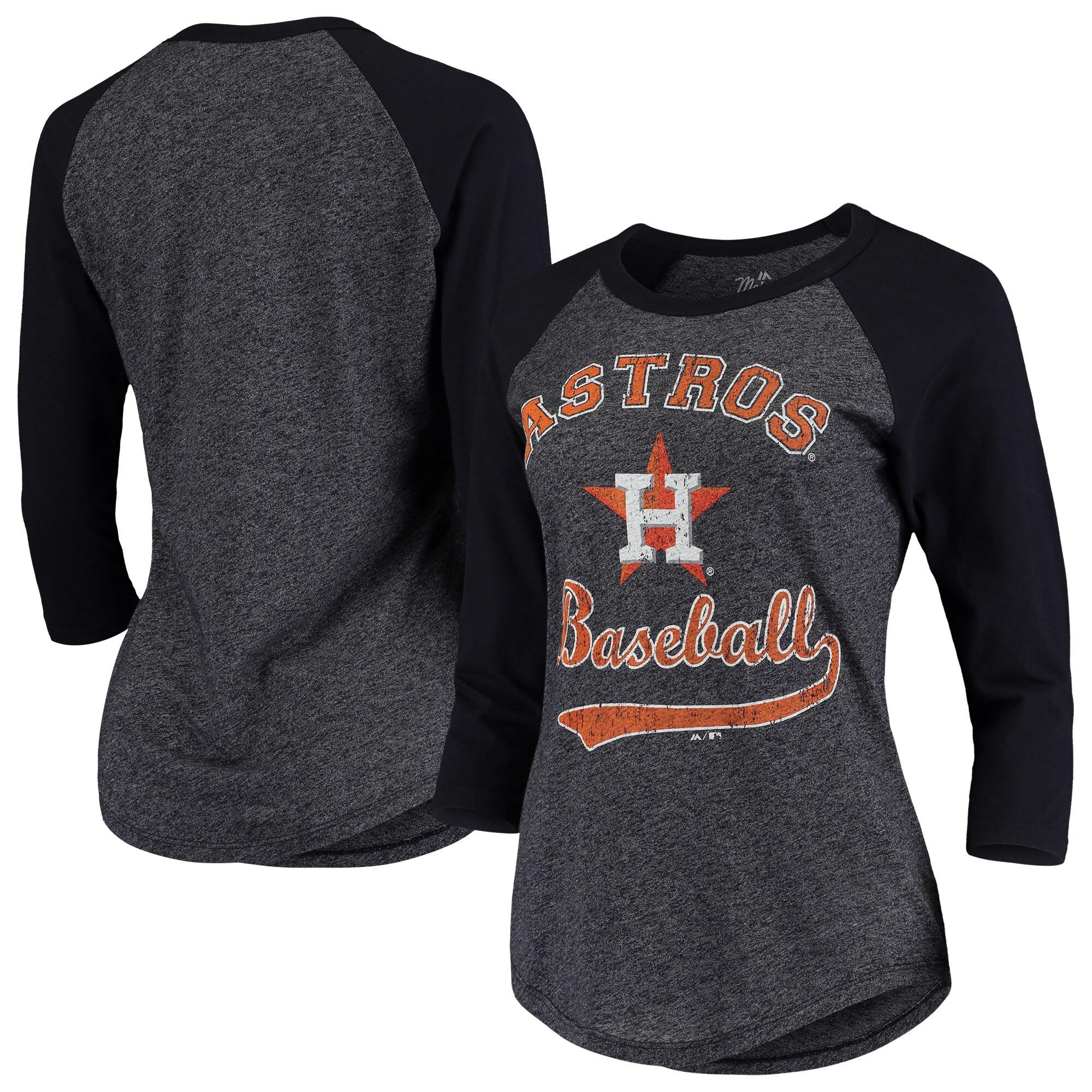 Houston Astros Majestic Threads Women's Team Baseball Three-Quarter Raglan Sleeve Tri-Blend T-Shirt - Navy