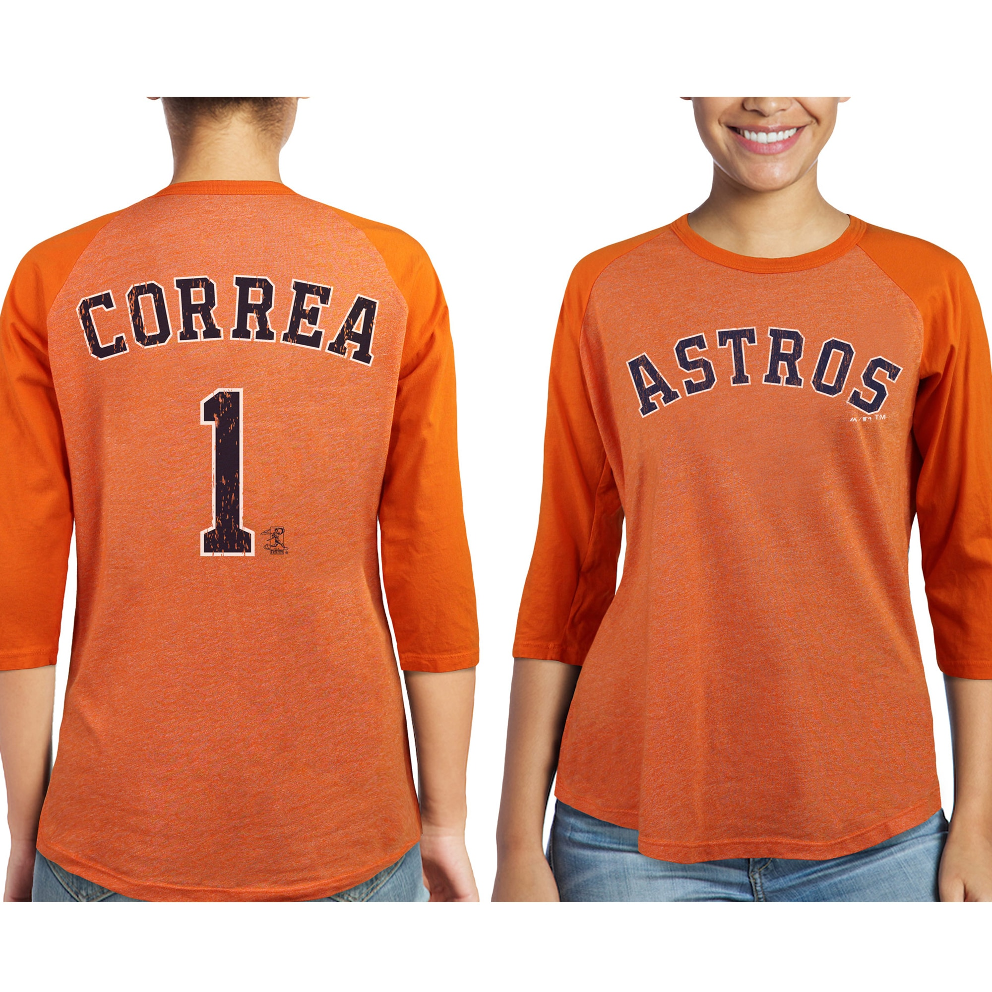 Carlos Correa Houston Astros Majestic Threads Women's 3/4-Sleeve Raglan Name & Number T-Shirt - Orange
