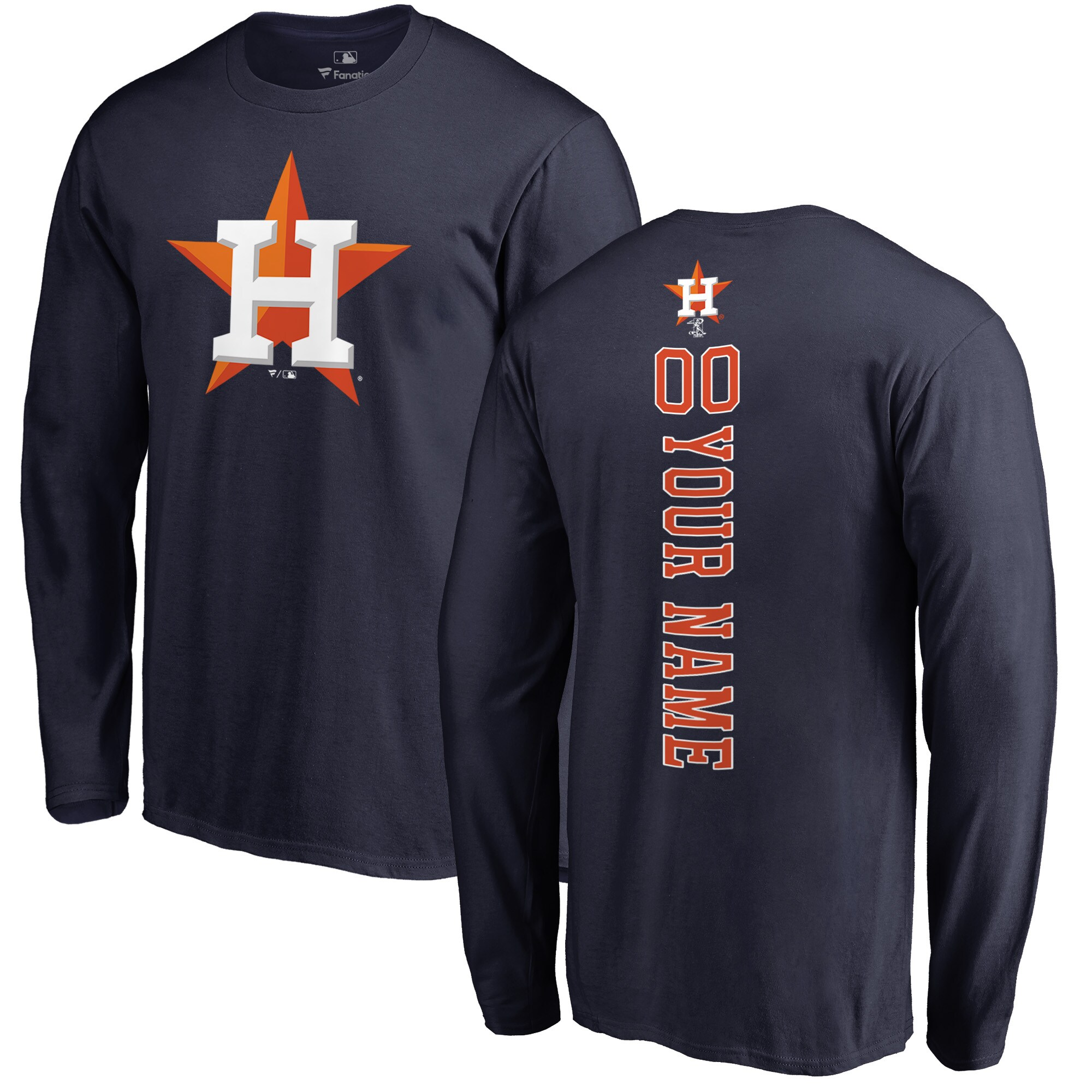 Houston Astros Fanatics Branded Personalized Playmaker Long Sleeve T-Shirt - Navy