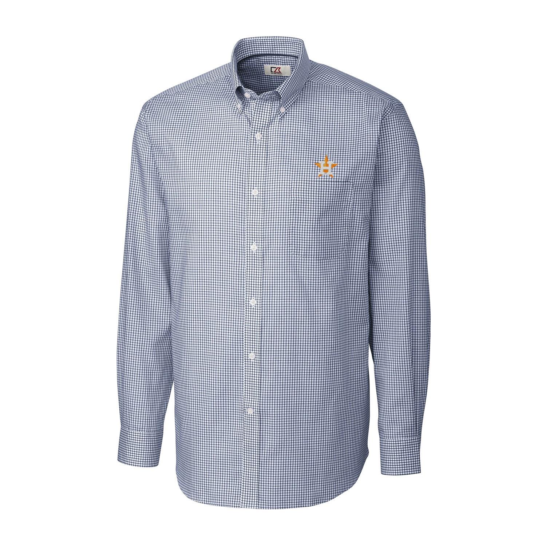 Houston Astros Cutter & Buck Tattersall Woven Long Sleeve Button-Down Shirt - Navy