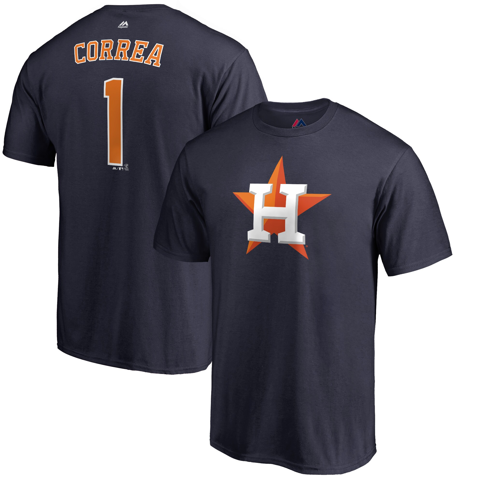 Carlos Correa Houston Astros Majestic Double Play Cap Logo Name & Number T-Shirt - Navy