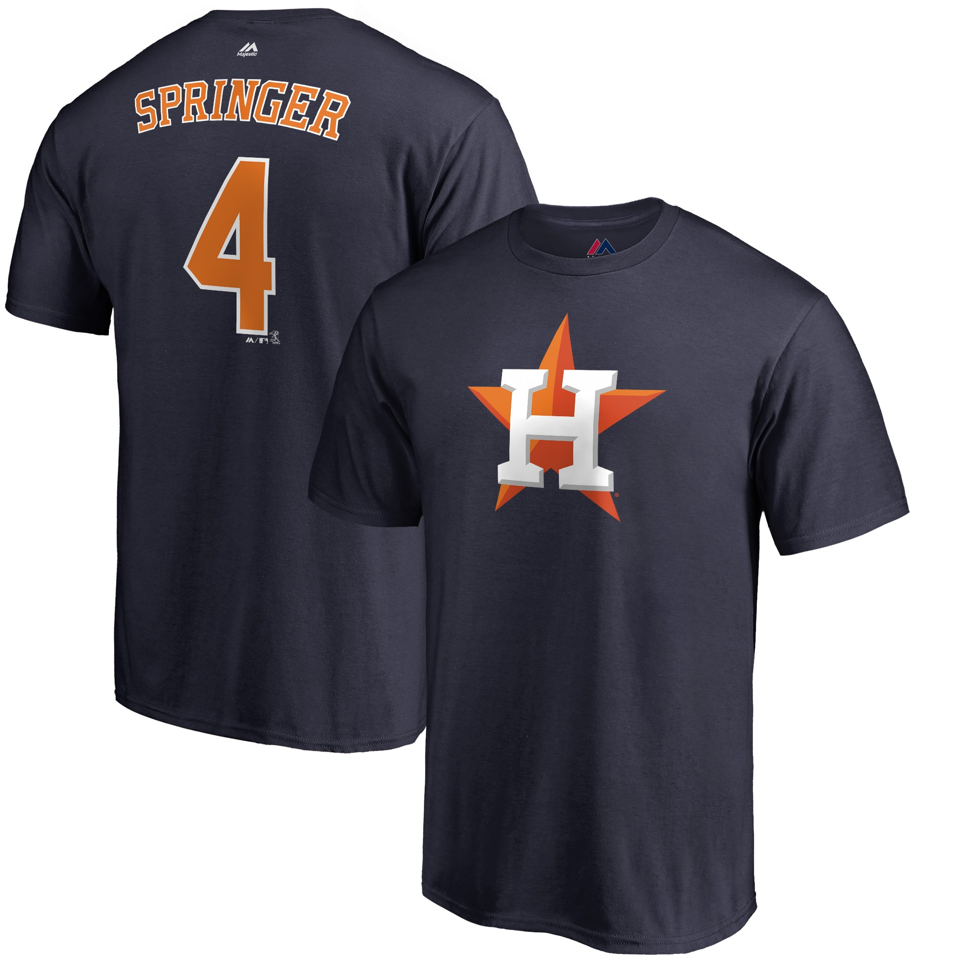 George Springer Houston Astros Majestic Double Play Cap Logo Name & Number T-Shirt - Navy