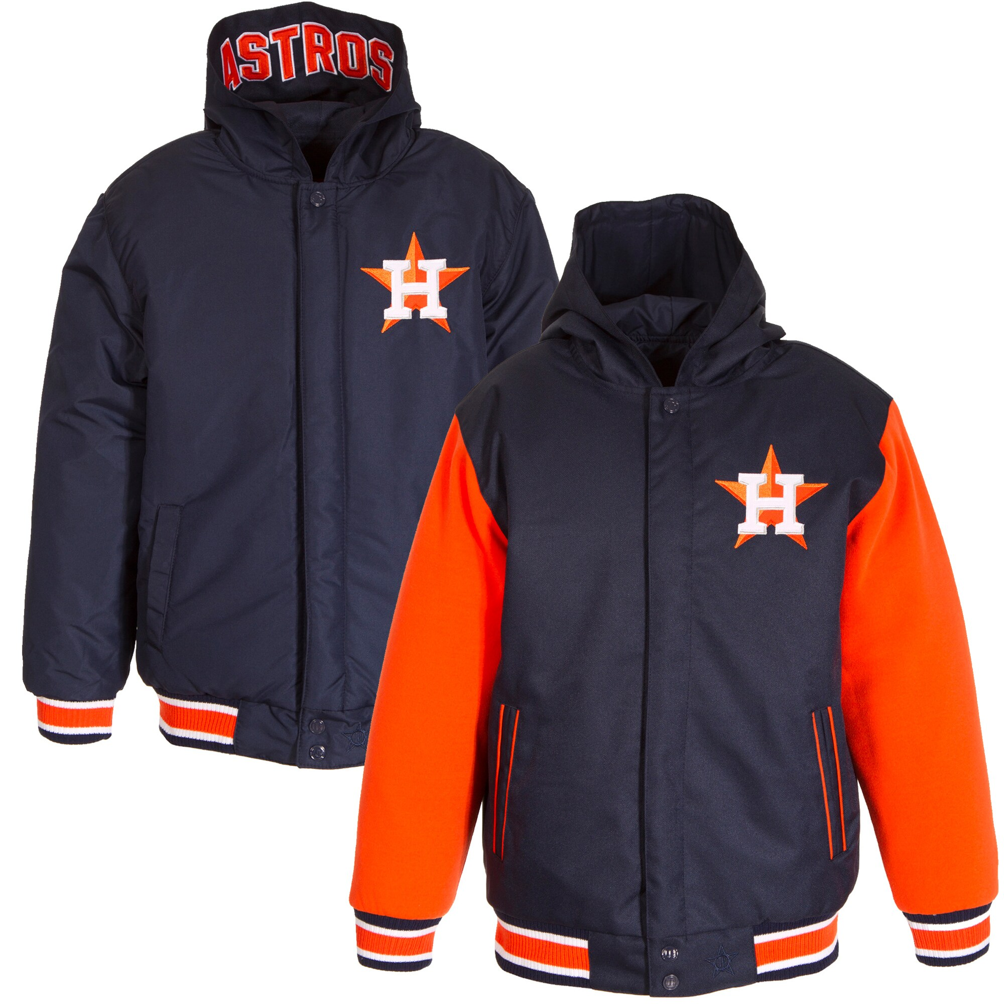 Houston Astros JH Design Youth Reversible Poly-Twill Full-Snap Hoodie - Navy/Orange