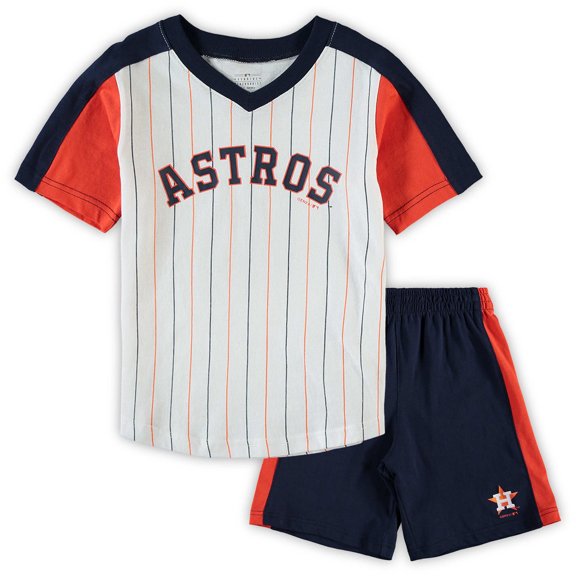 Houston Astros Preschool The Lineup V-Neck & Shorts Set - White/Navy