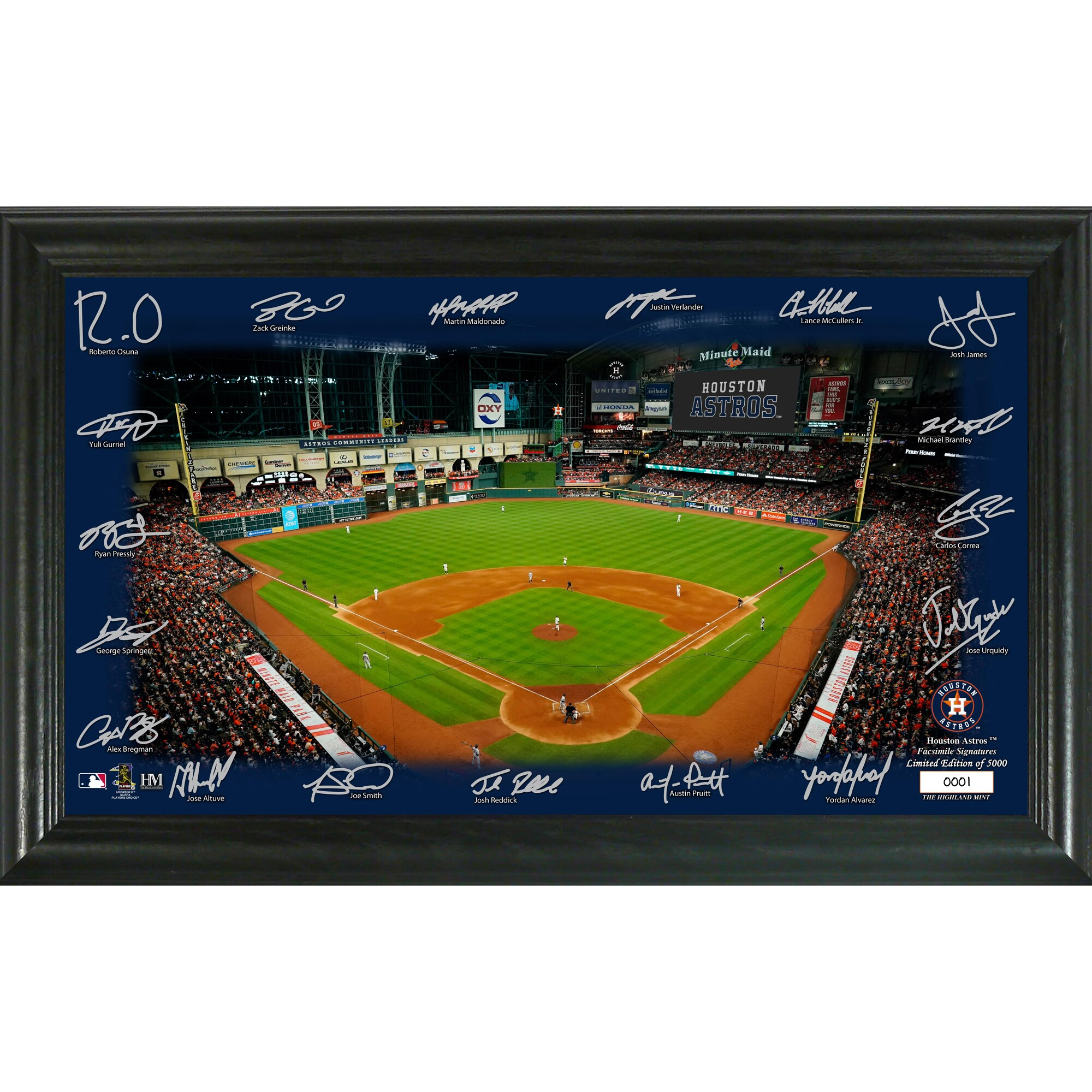 Houston Astros Highland Mint 12'' x 20'' Signature Field Limited Editon Framed Photo Mint