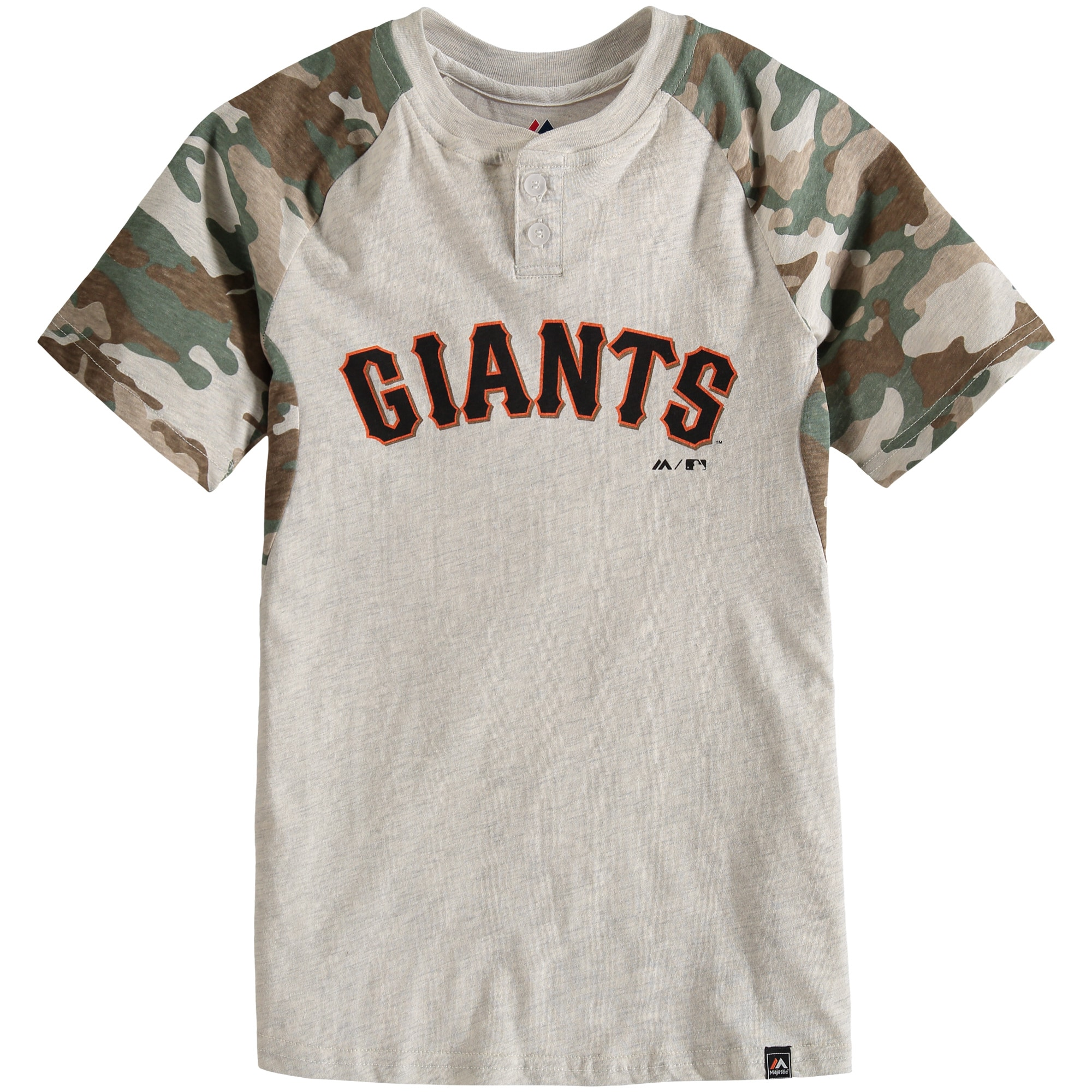 San Francisco Giants Majestic Youth Base Stealer Henley T-Shirt - Cream/Camo