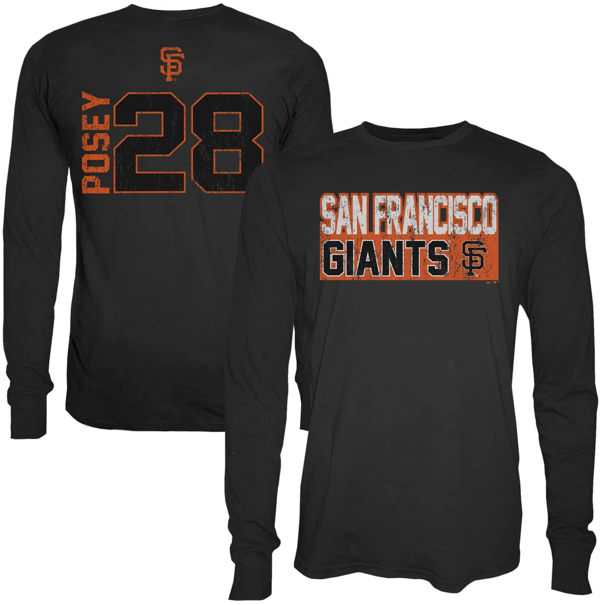 Buster Posey San Francisco Giants Majestic Threads Sidewinder Name & Number Long Sleeve T-Shirt - Black
