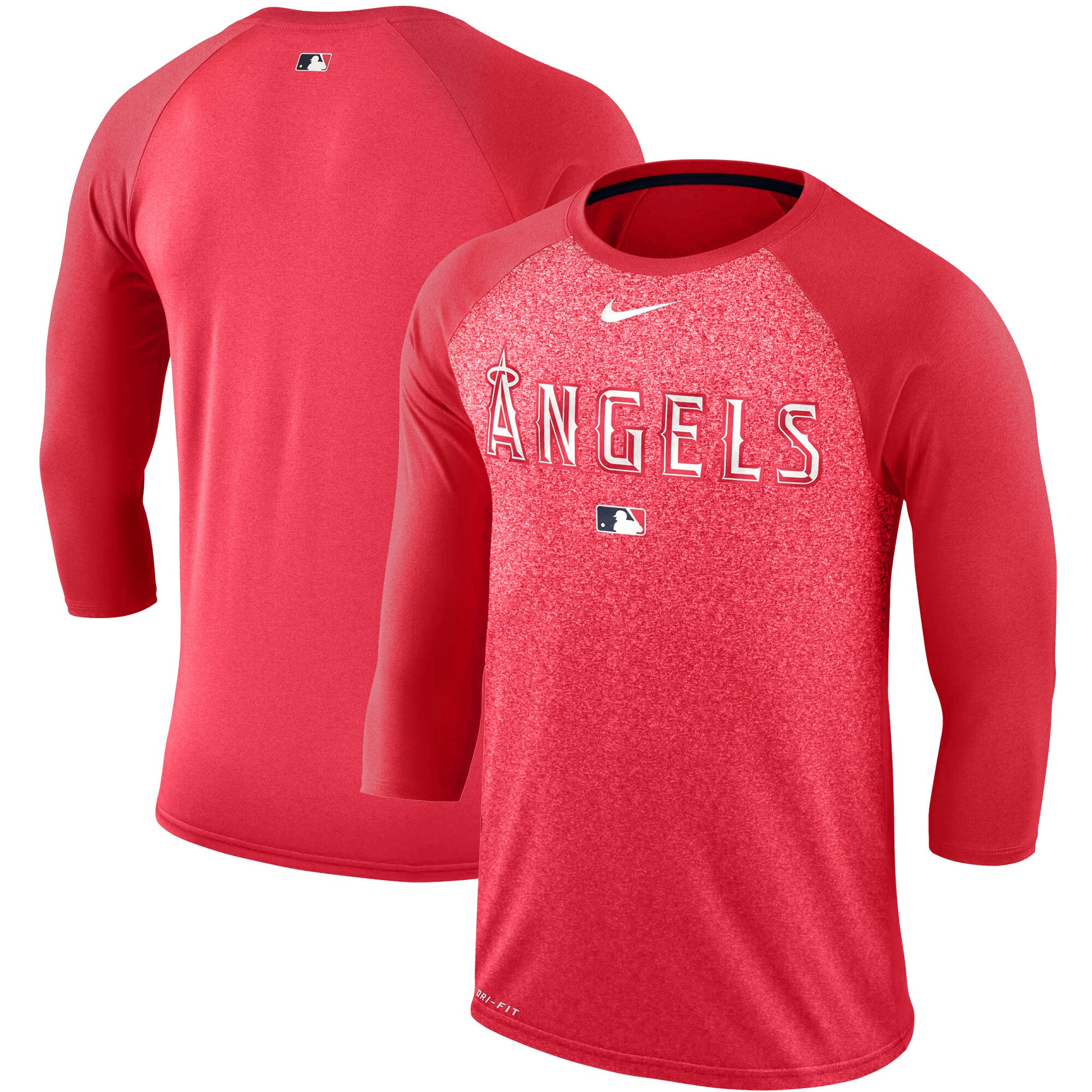 Los Angeles Angels Nike Authentic Collection Legend 3/4-Sleeve Raglan Performance T-Shirt - Red