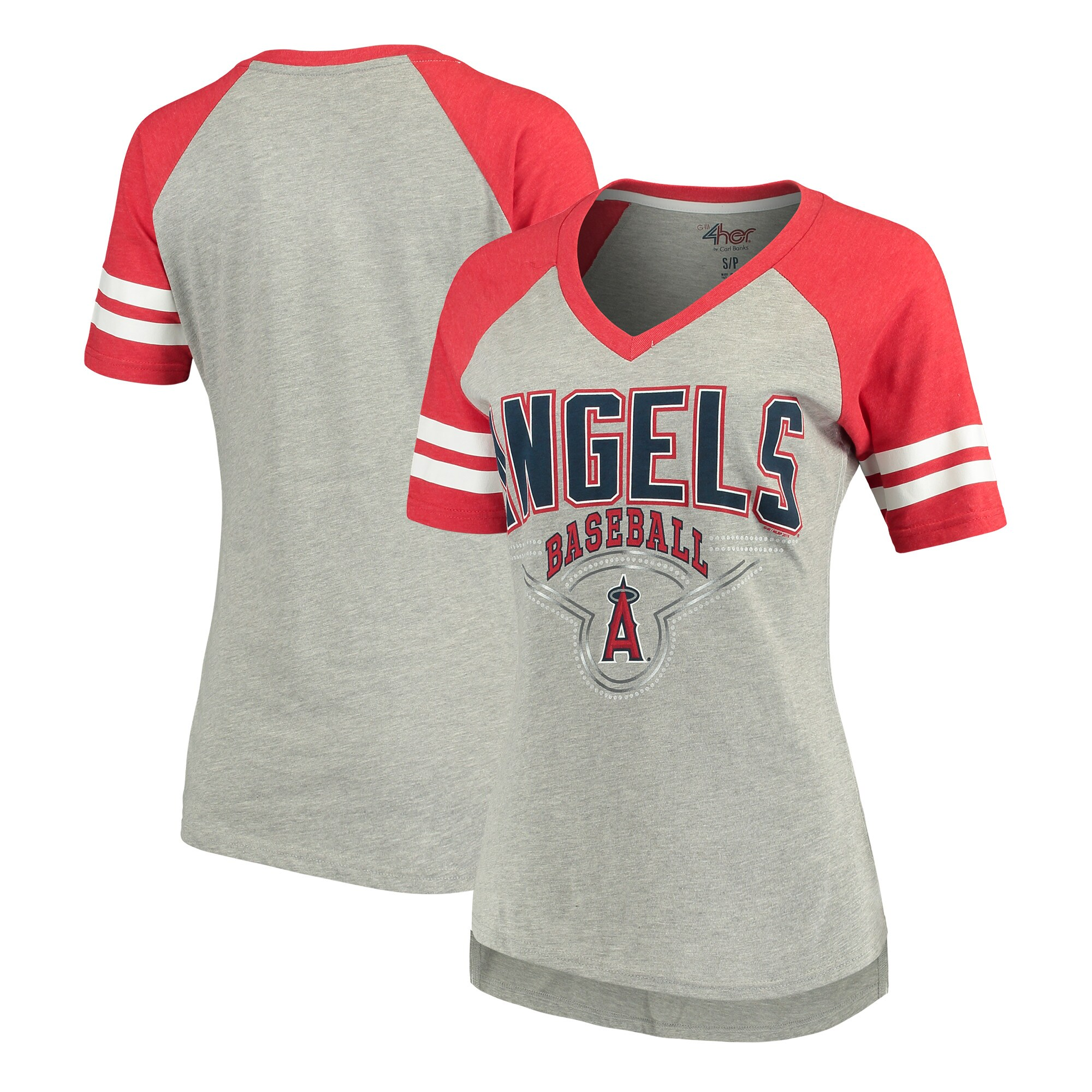 Los Angeles Angels G-III 4Her by Carl Banks Women's Goal Line T-Shirt - Heathered Gray/Red