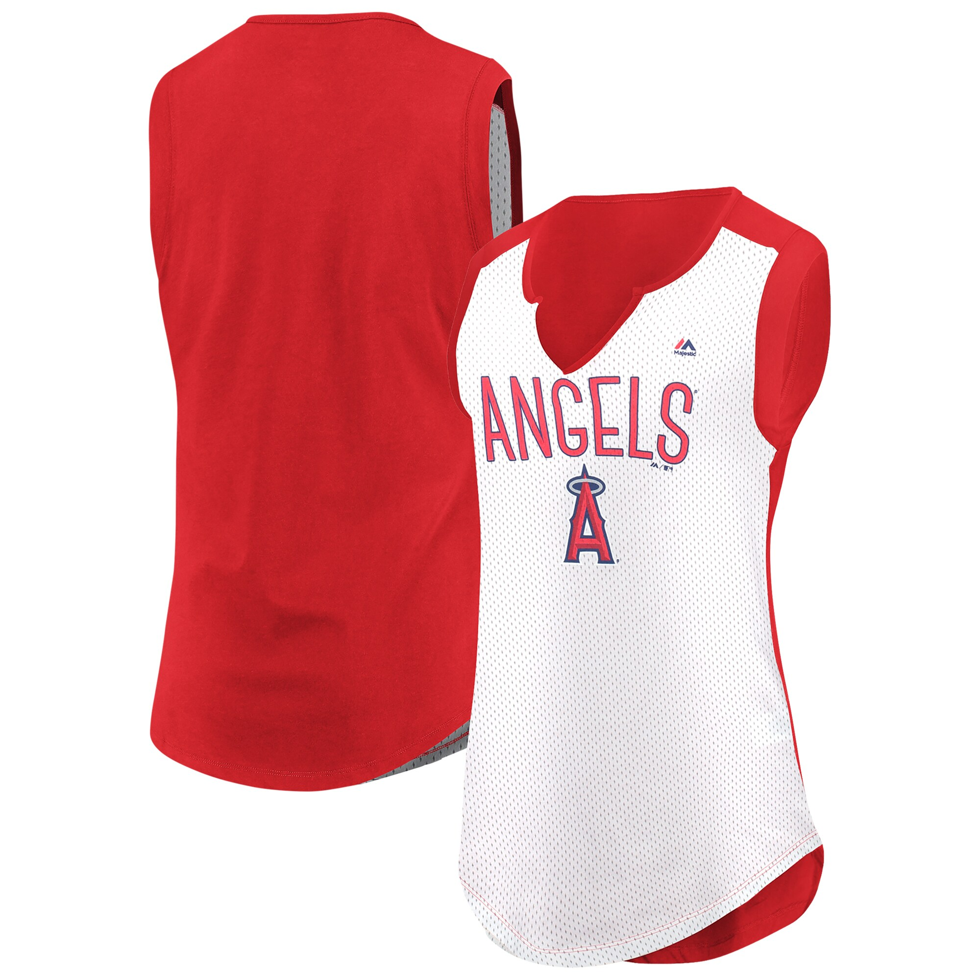 Los Angeles Angels Majestic Women's Decisive Battle Muscle T-Shirt - White