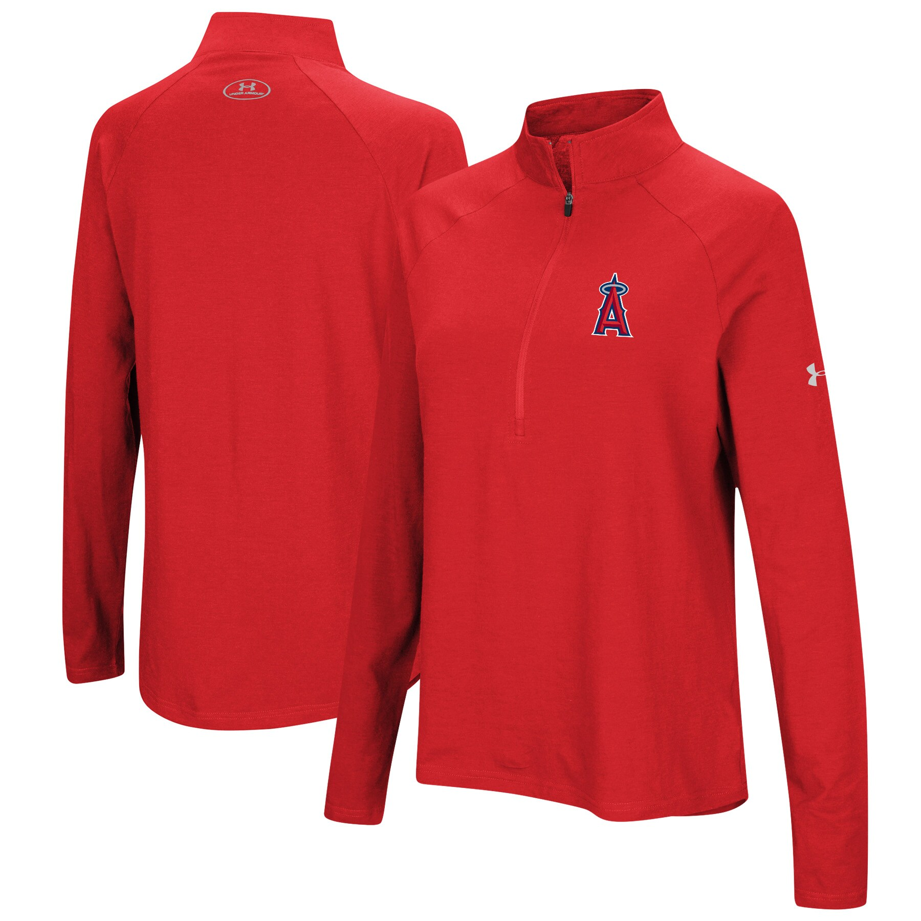 Los Angeles Angels Under Armour Women's Passion Performance Tri-Blend Raglan Half-Zip Pullover Jacket - Red