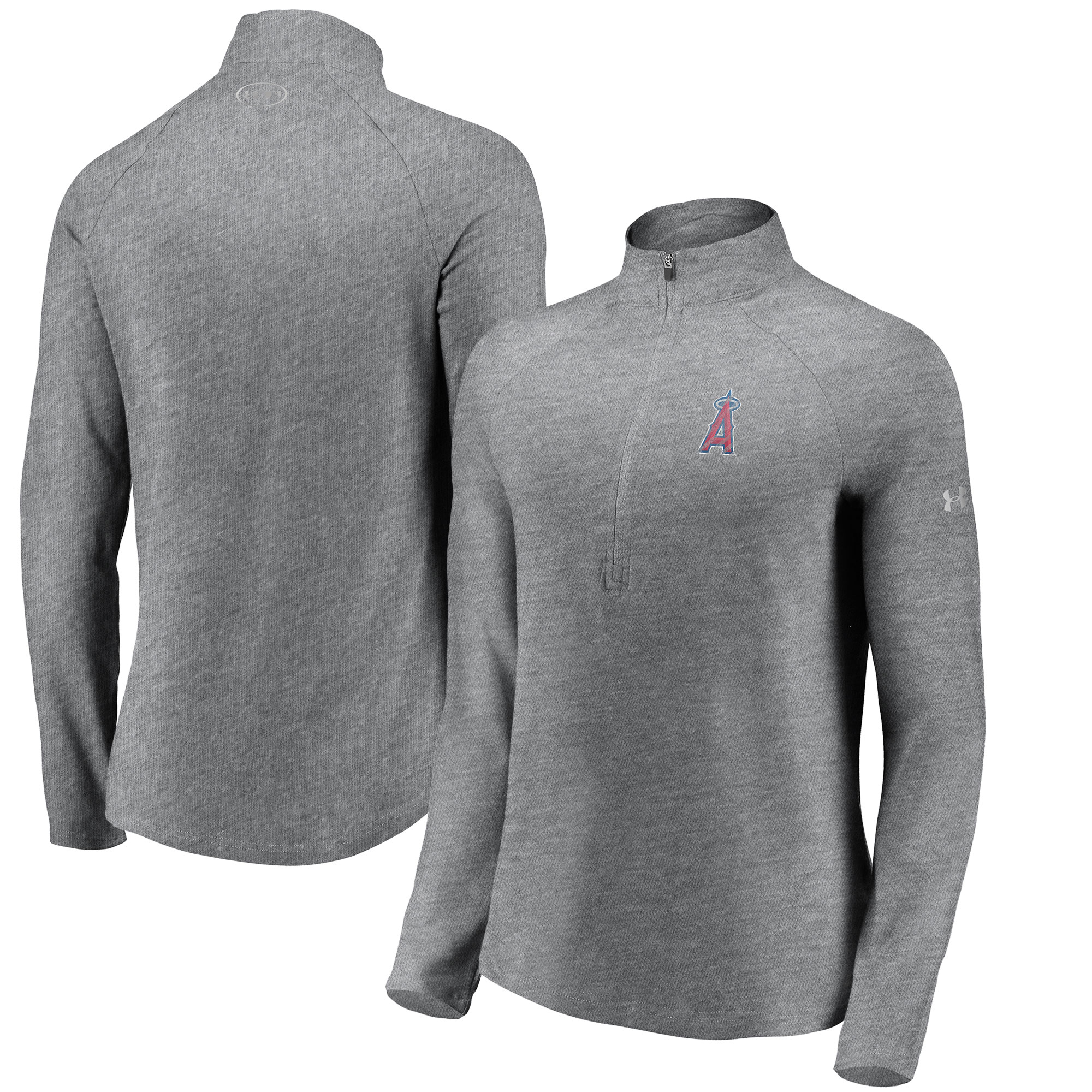 Los Angeles Angels Under Armour Women's Passion Alternate Performance Tri-Blend Raglan Half-Zip Pullover Jacket - Heathered Gray
