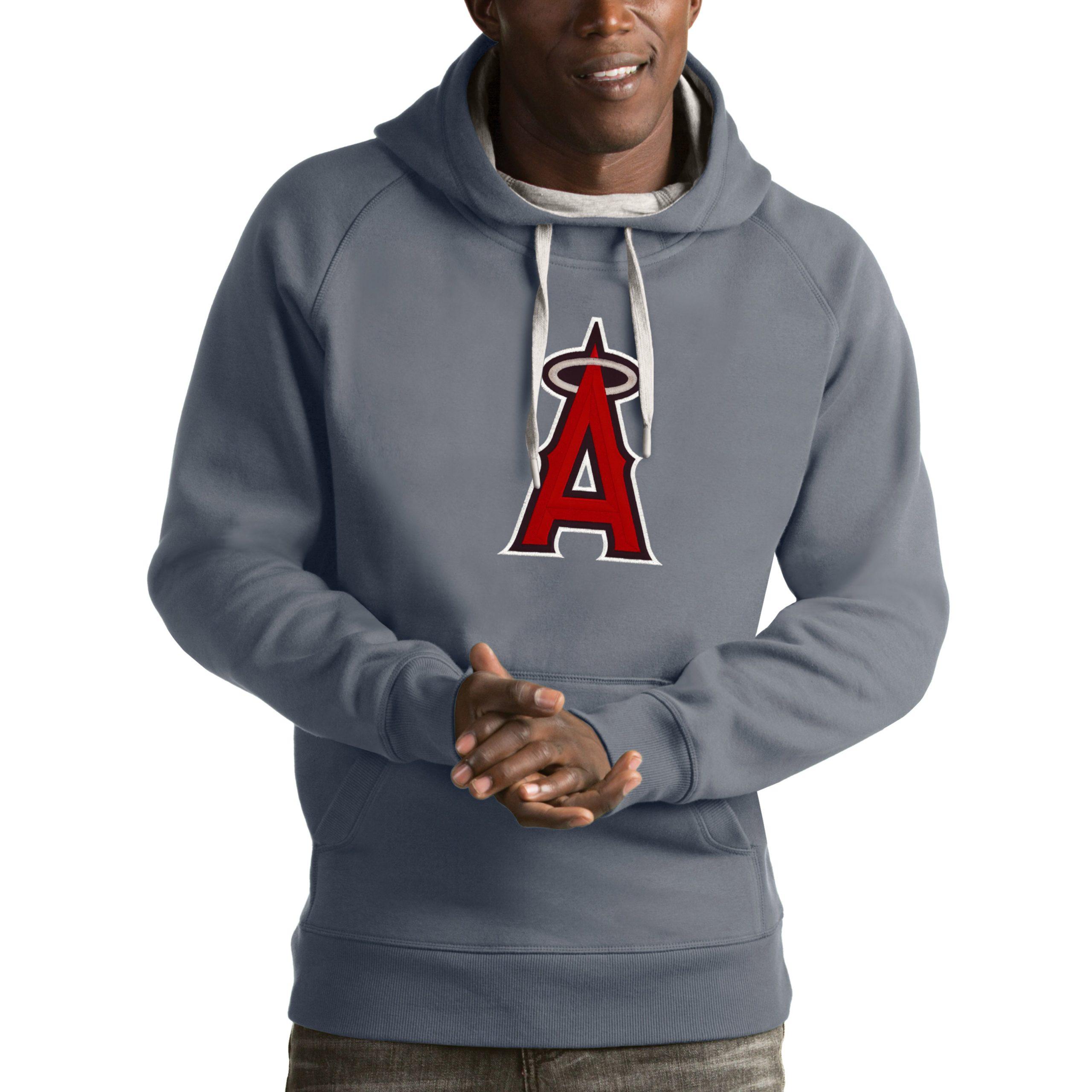 Los Angeles Angels Antigua Victory Pullover Hoodie - Heathered Gray