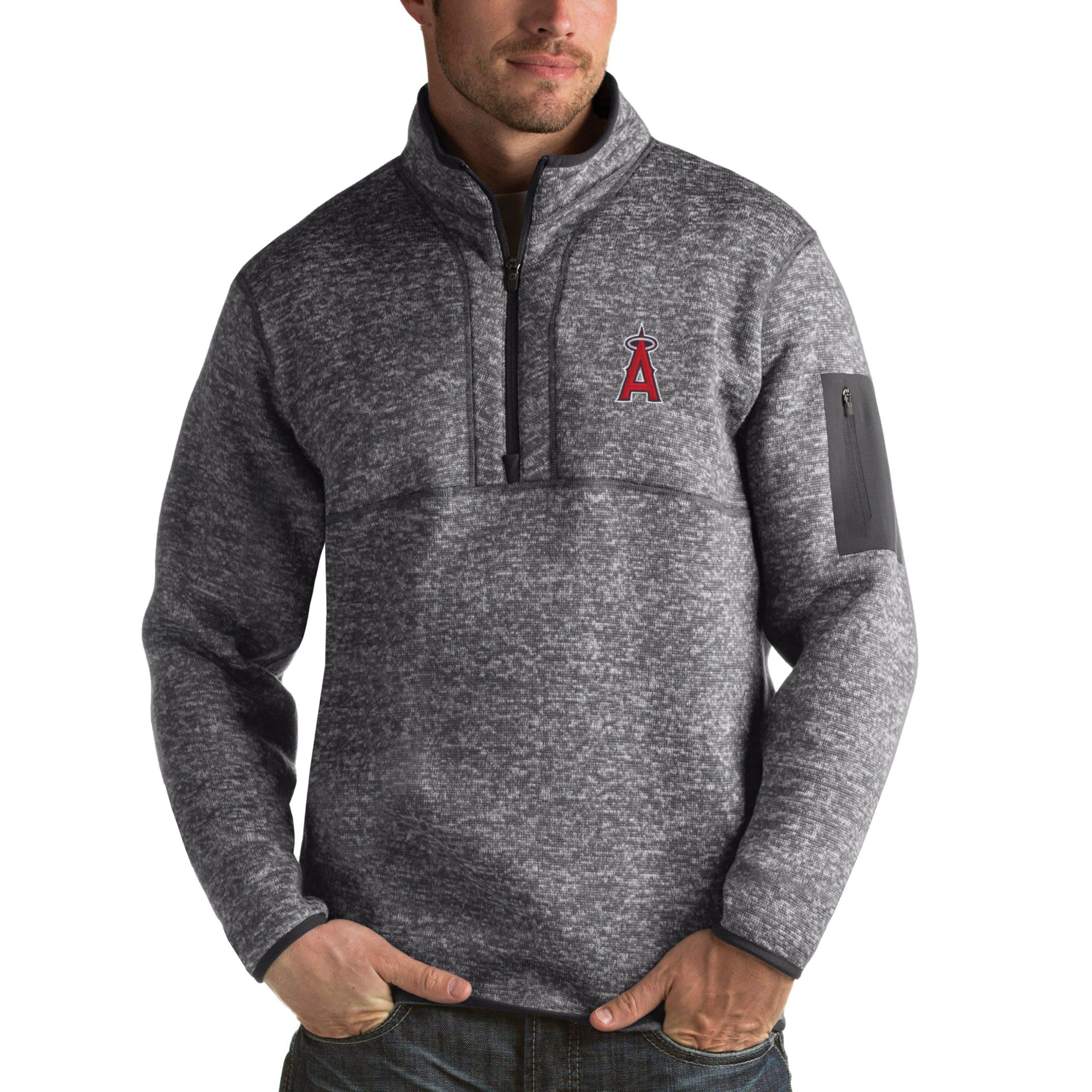 Los Angeles Angels Antigua Fortune Half-Zip Sweater - Heathered Charcoal
