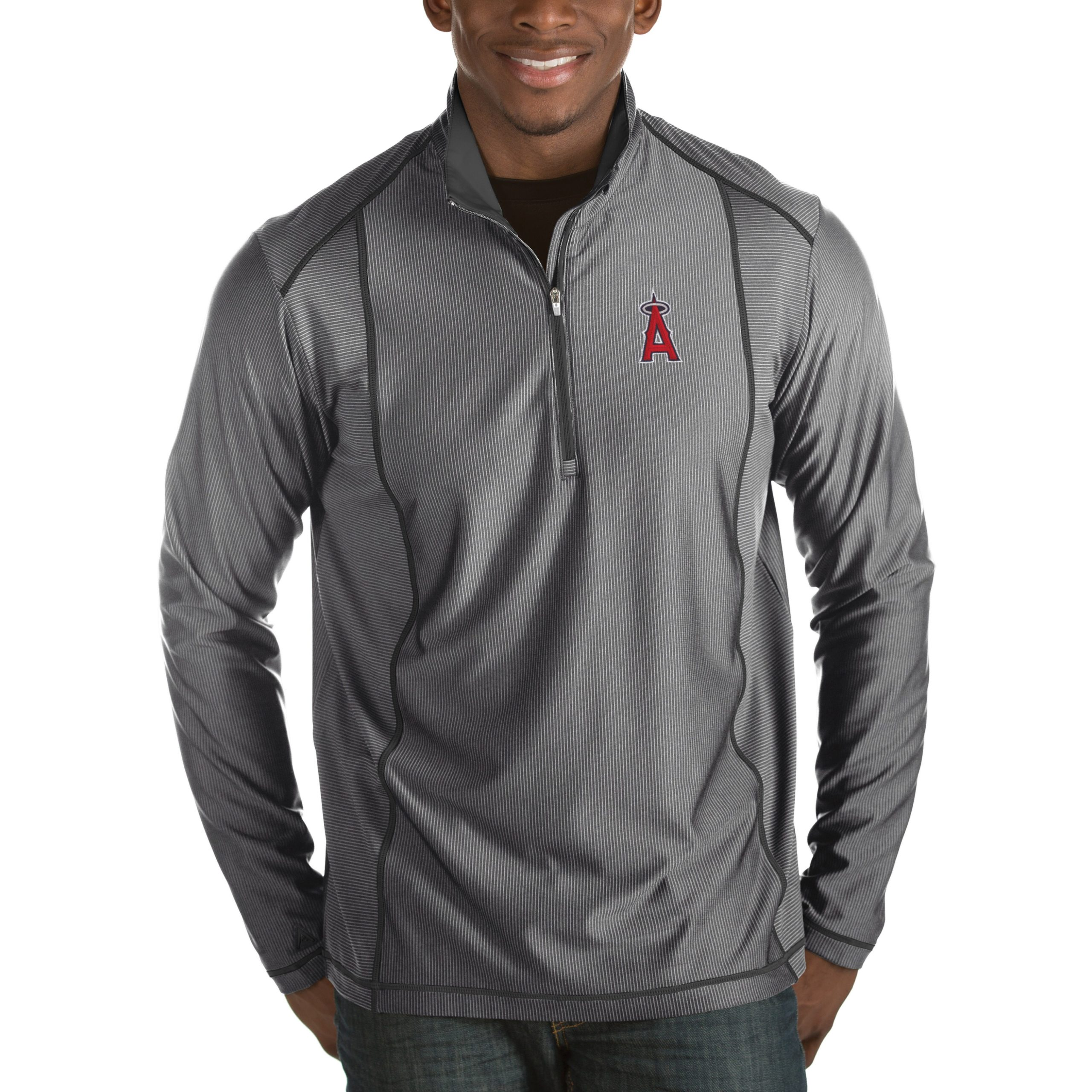 Los Angeles Angels Antigua Tempo Half-Zip Pullover Jacket - Heathered Charcoal