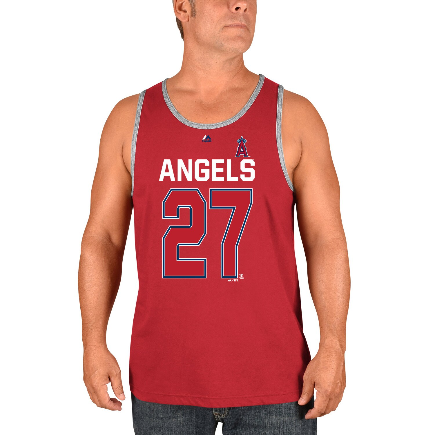 Mike Trout Los Angeles Angels Majestic Catch The Dream Tank Top - Red