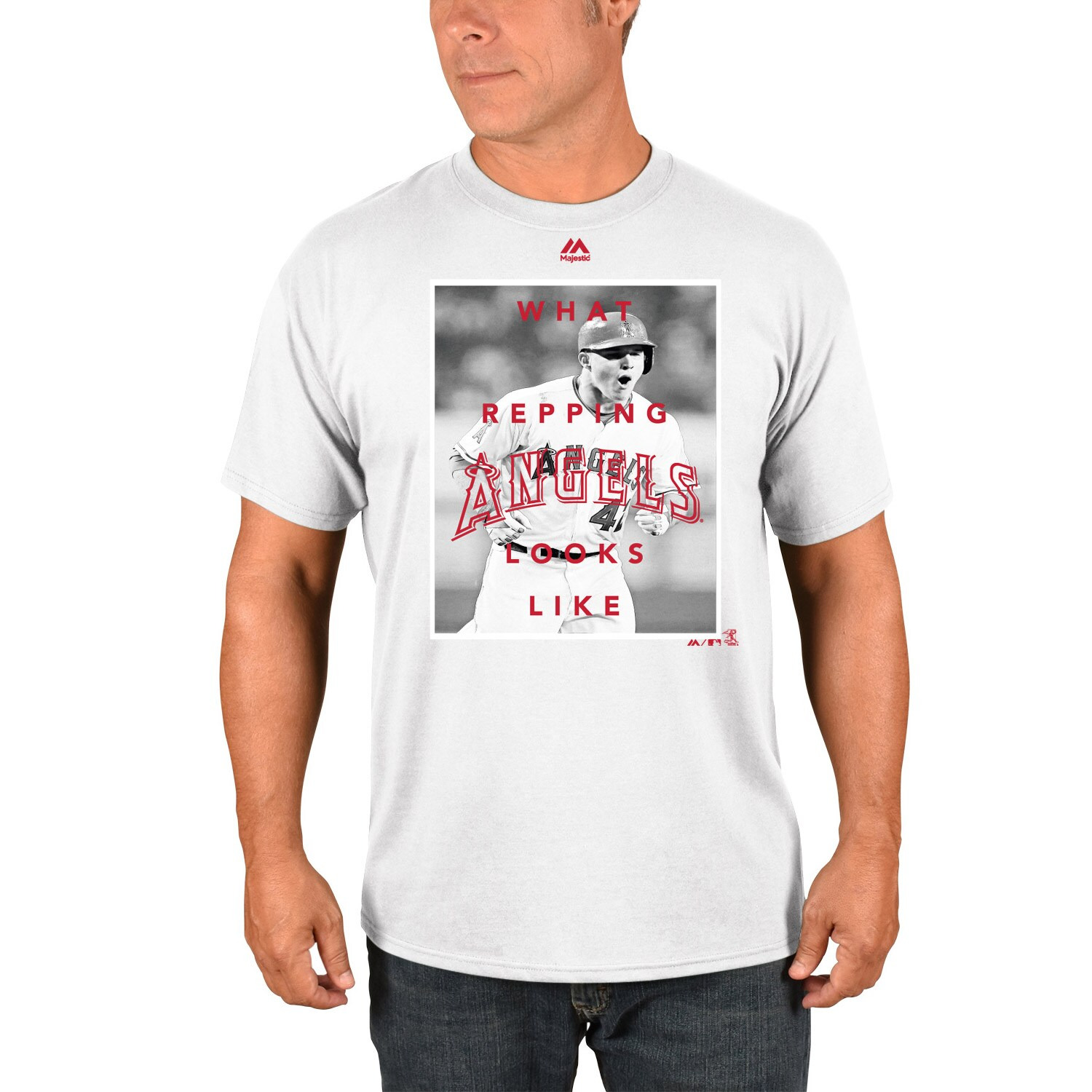 Mike Trout Los Angeles Angels Majestic Walk Off Player T-Shirt - White