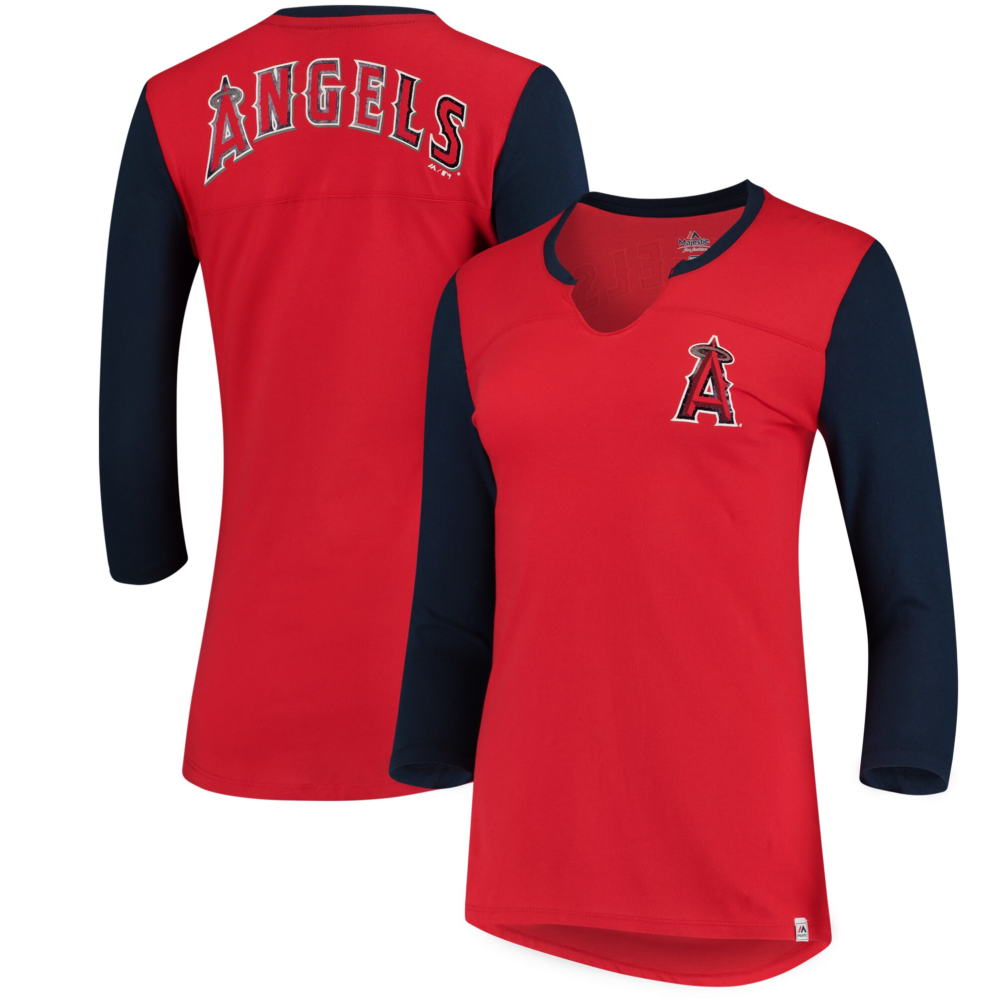Los Angeles Angels Majestic Women's Above Average Three-Quarter Sleeve V-Notch T-Shirt - Red/Navy