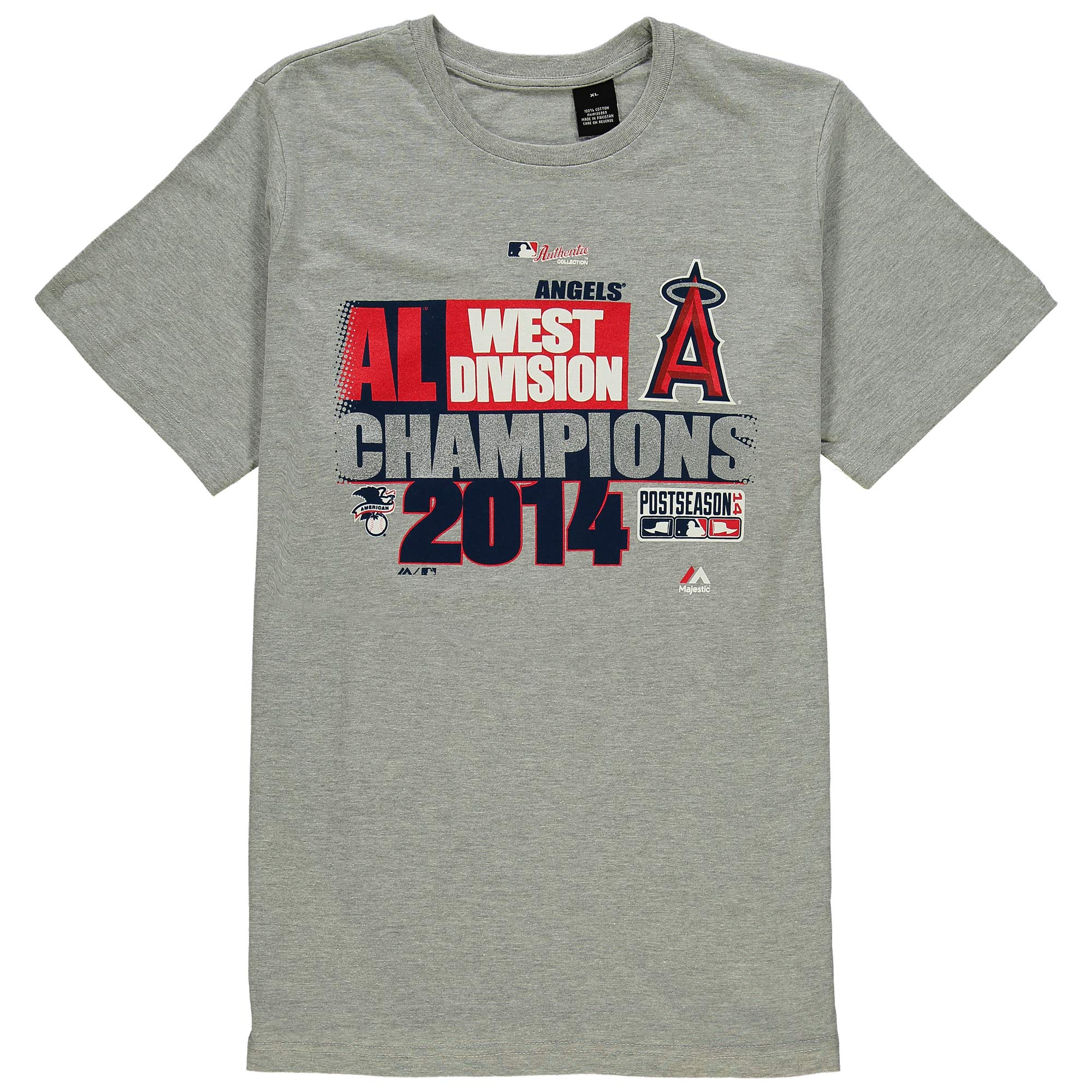 Los Angeles Angels Majestic Women's Plus Size 2014 Divison Champions T-Shirt - Heathered Gray