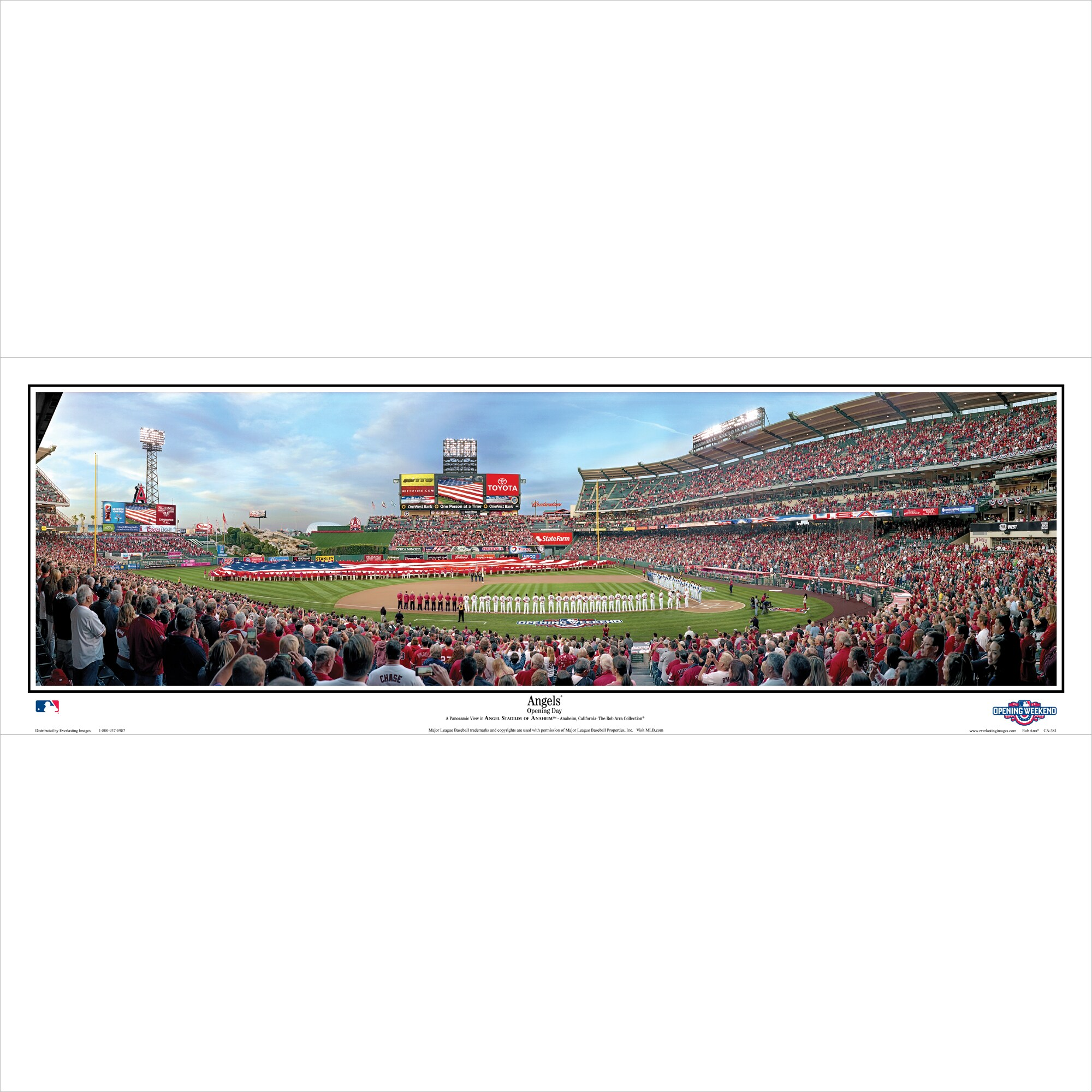 "Los Angeles Angels 39"" x 13.5"" Standard Black Framed Panoramic"