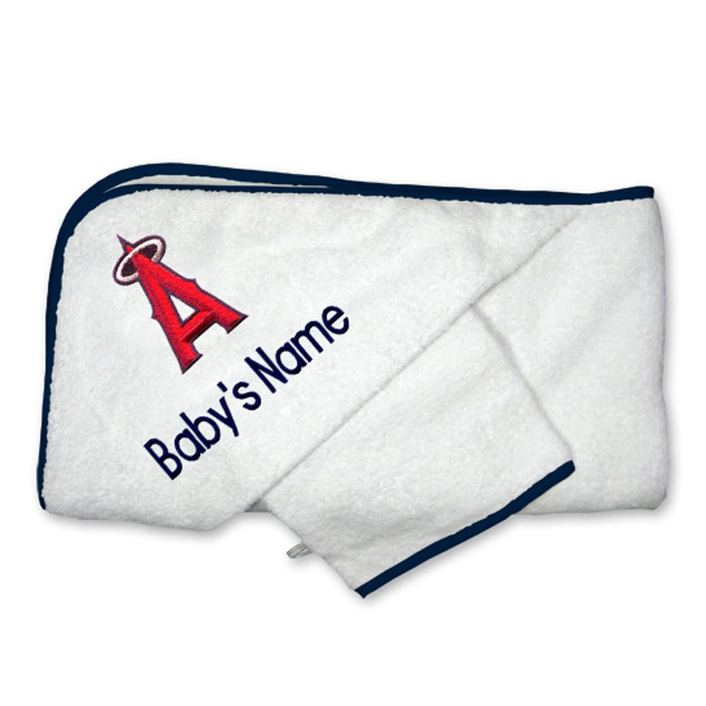 Los Angeles Angels Infant Personalized Hooded Towel & Mitt Set - White