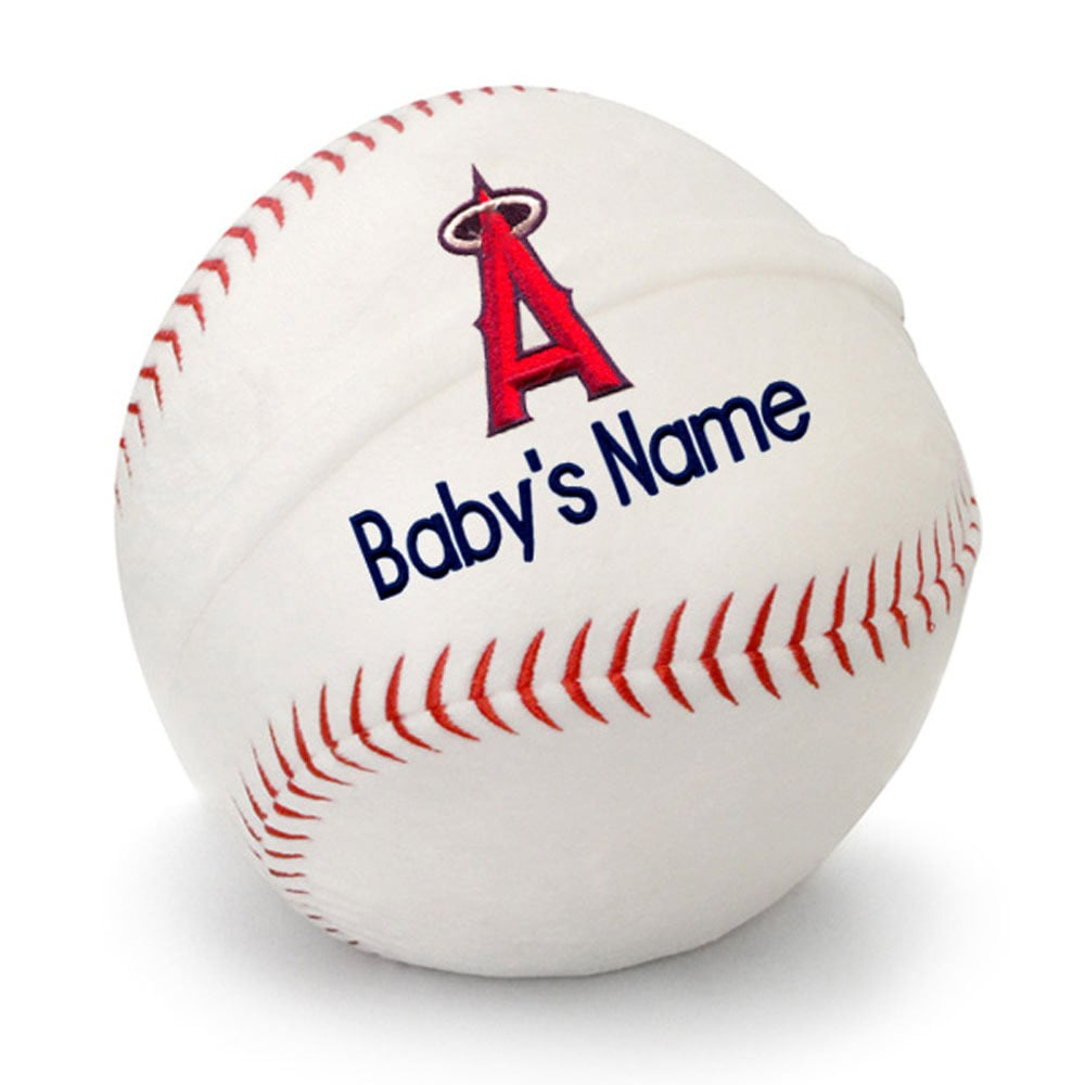 Los Angeles Angels Personalized Plush Baby Baseball - White