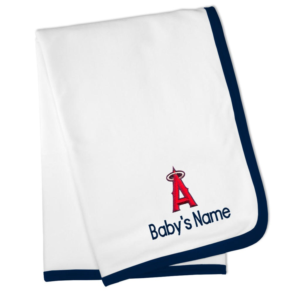 Los Angeles Angels Personalized Baby Blanket - White