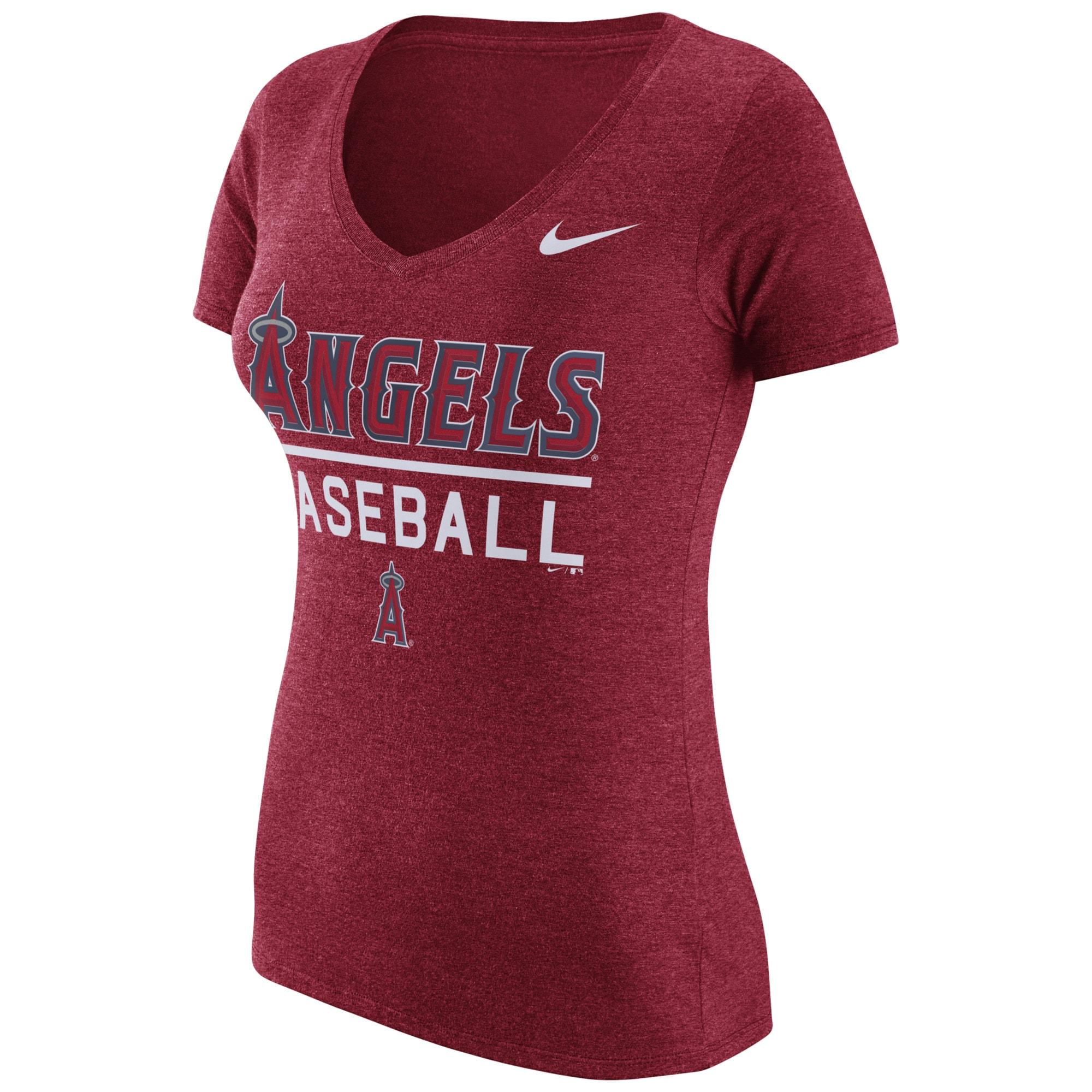Los Angeles Angels Nike Women's Practice 1.7 Tri-Blend V-Neck T-Shirt - Heathered Red