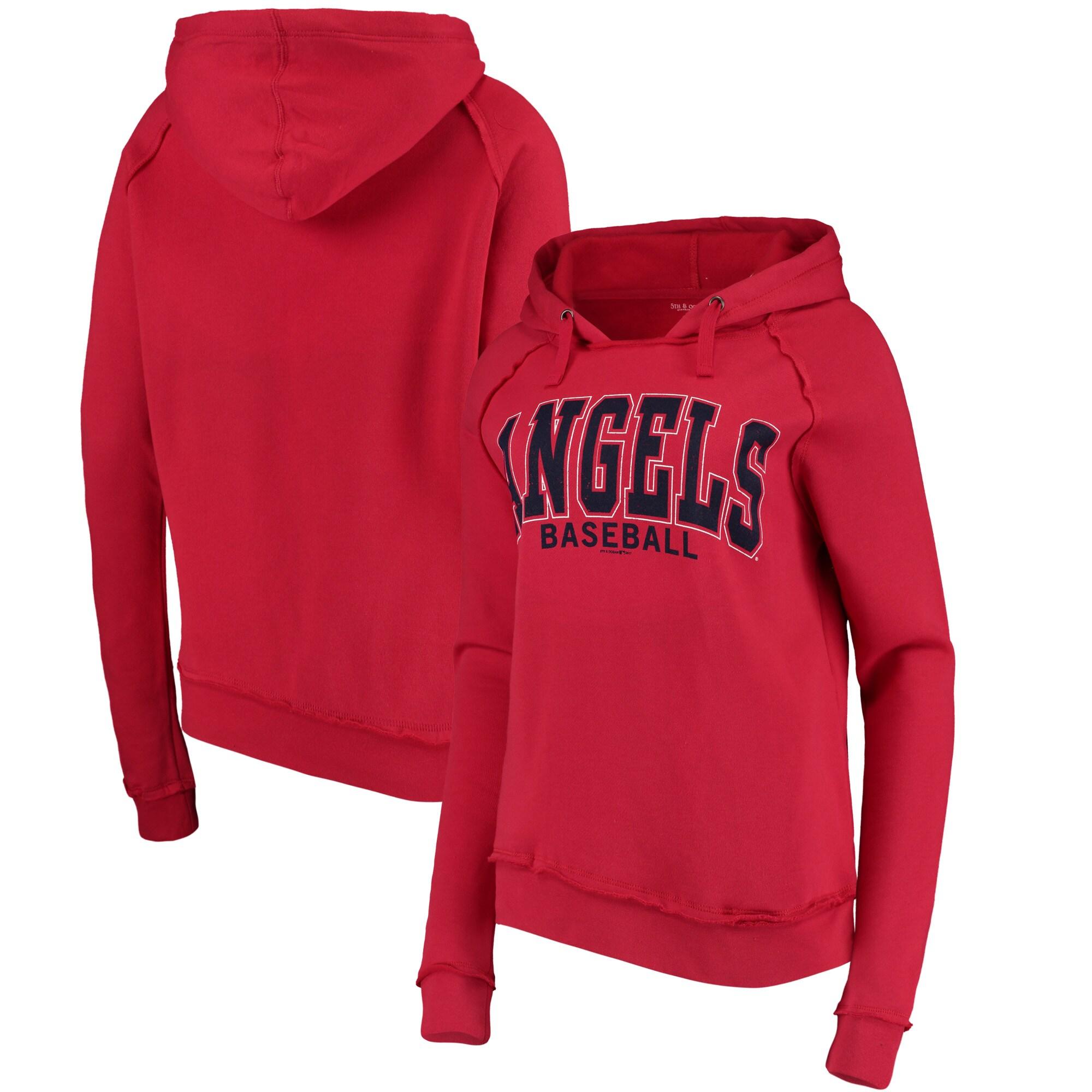 Los Angeles Angels 5th & Ocean by New Era Women's Defense Raglan Pullover Hoodie - Red