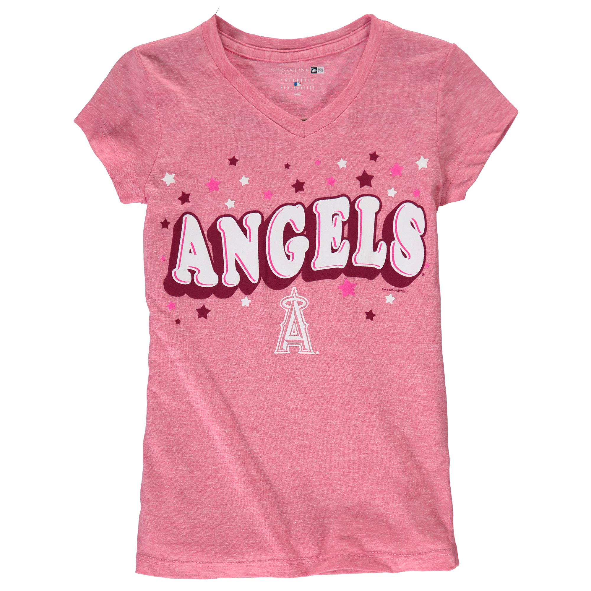 Los Angeles Angels 5th & Ocean by New Era Girls Youth Stars Tri-Blend V-Neck T-Shirt - Pink