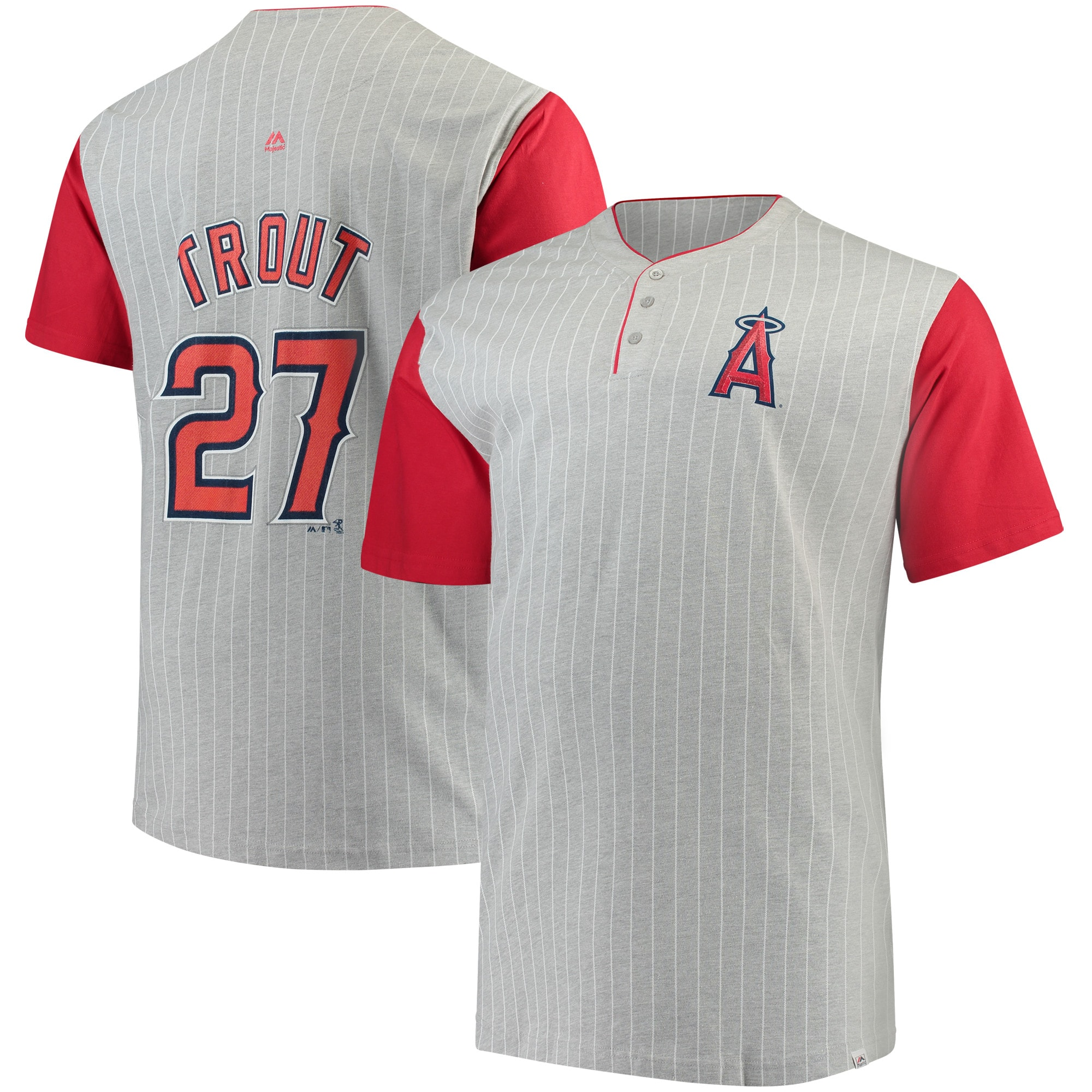 Mike Trout Los Angeles Angels Majestic Big & Tall From the Stretch Pinstripe Player T-Shirt - Gray