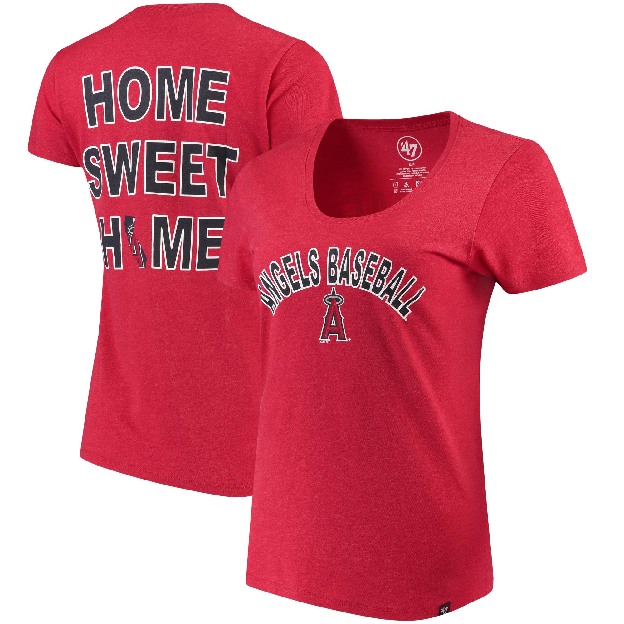 Los Angeles Angels '47 Women's Club Scoop Neck T-Shirt - Red