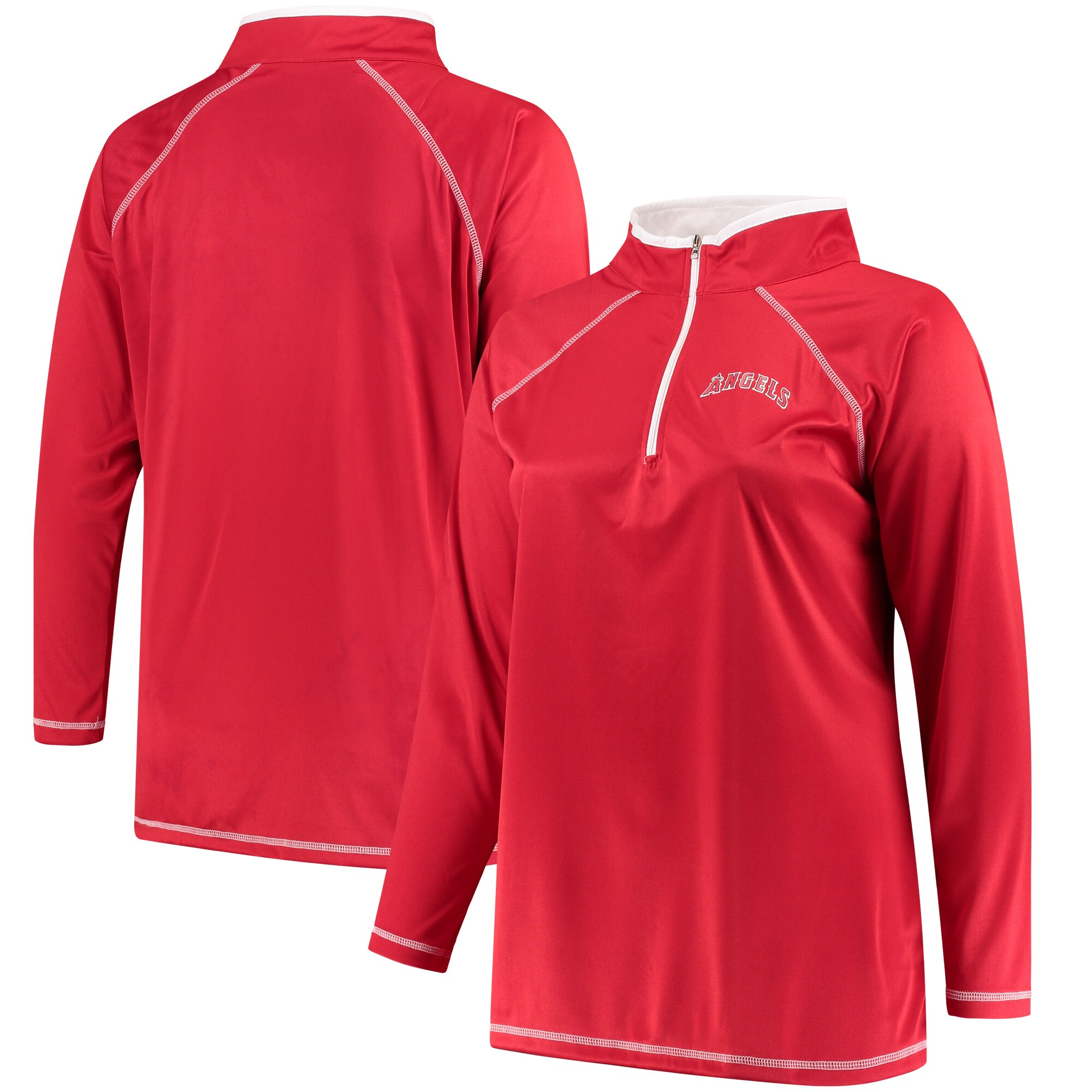 Los Angeles Angels Majestic Women's Plus Size Quarter-Zip Pullover Jacket - Red