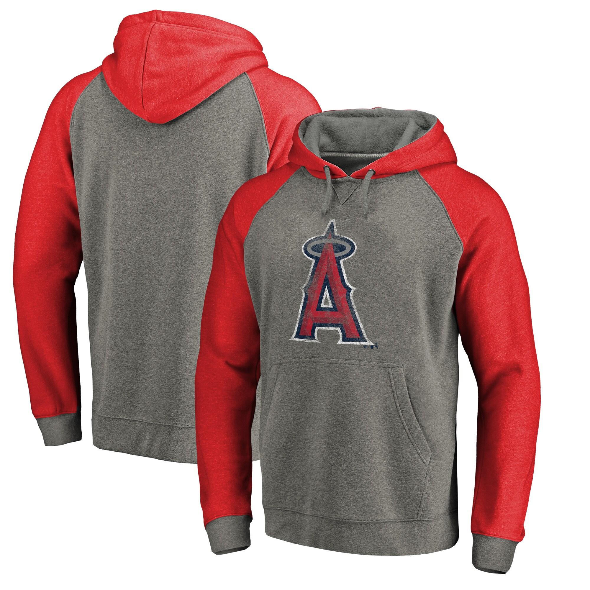 Los Angeles Angels Fanatics Branded Distressed Team Logo Tri-Blend Big & Tall Raglan Pullover Hoodie - Gray/Red