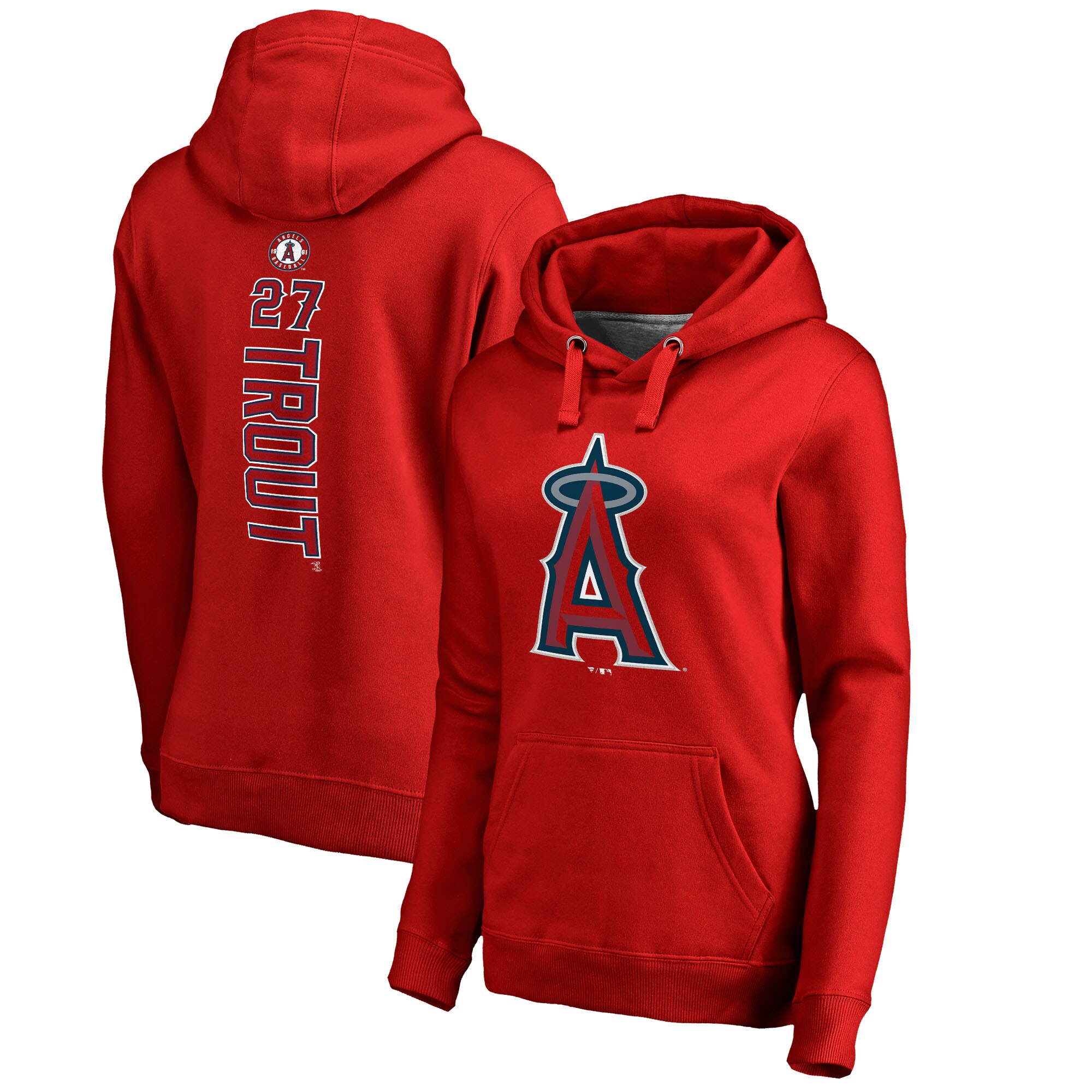 Mike Trout Los Angeles Angels Fanatics Branded Women's Backer Pullover Hoodie - Red
