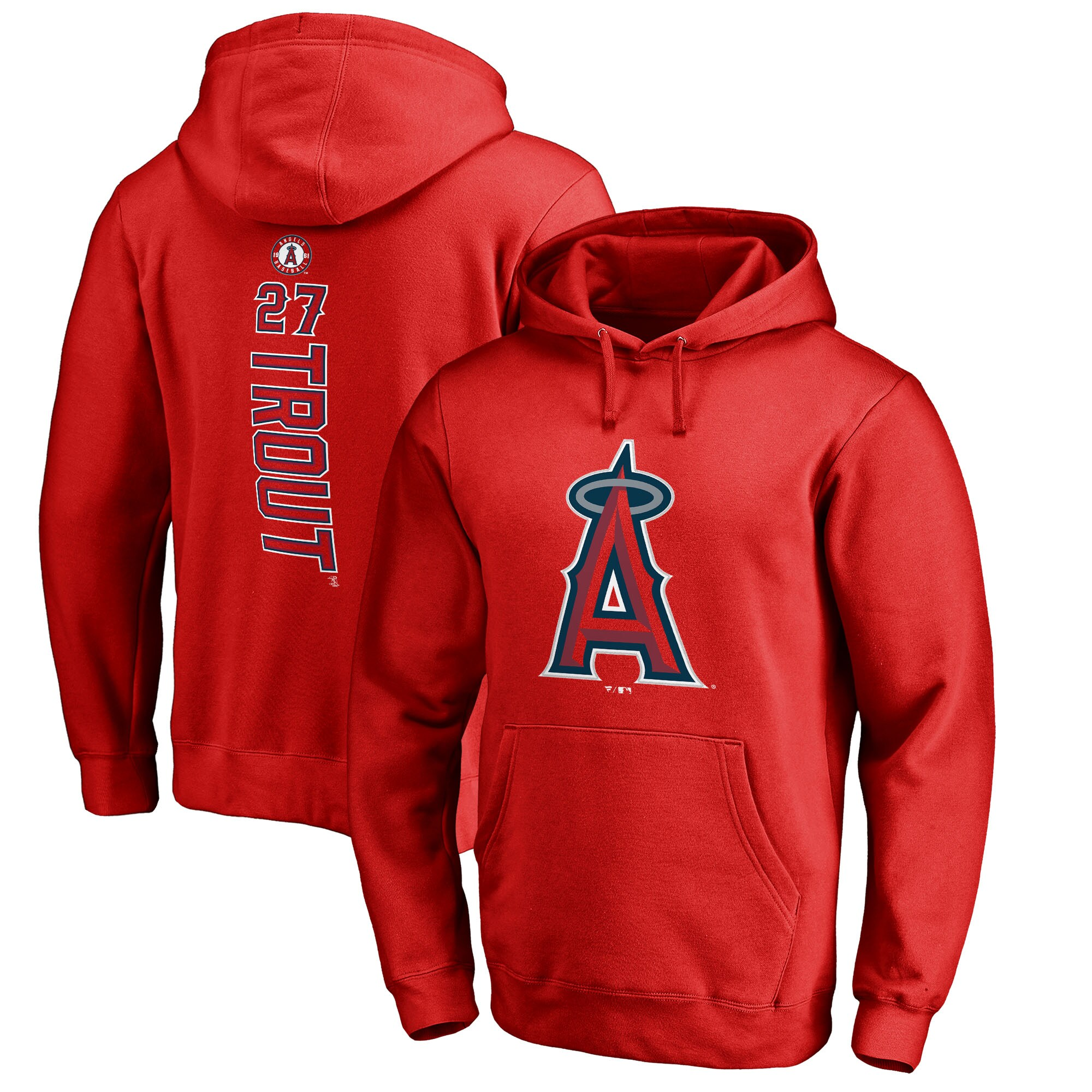 Mike Trout Los Angeles Angels Fanatics Branded Backer Pullover Hoodie - Red