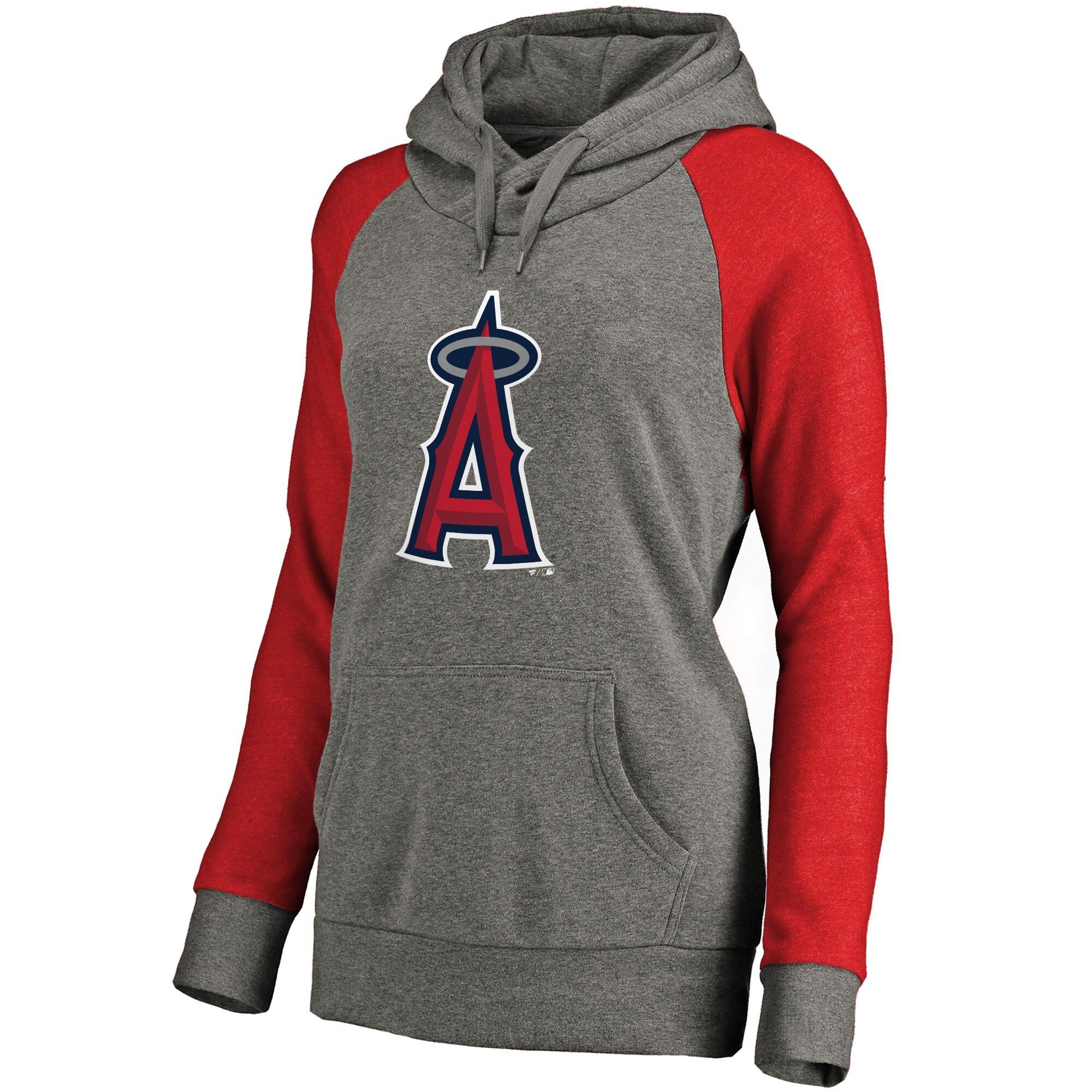 Los Angeles Angels Women's Primary Logo Raglan Sleeve Tri-Blend Pullover Hoodie - Ash
