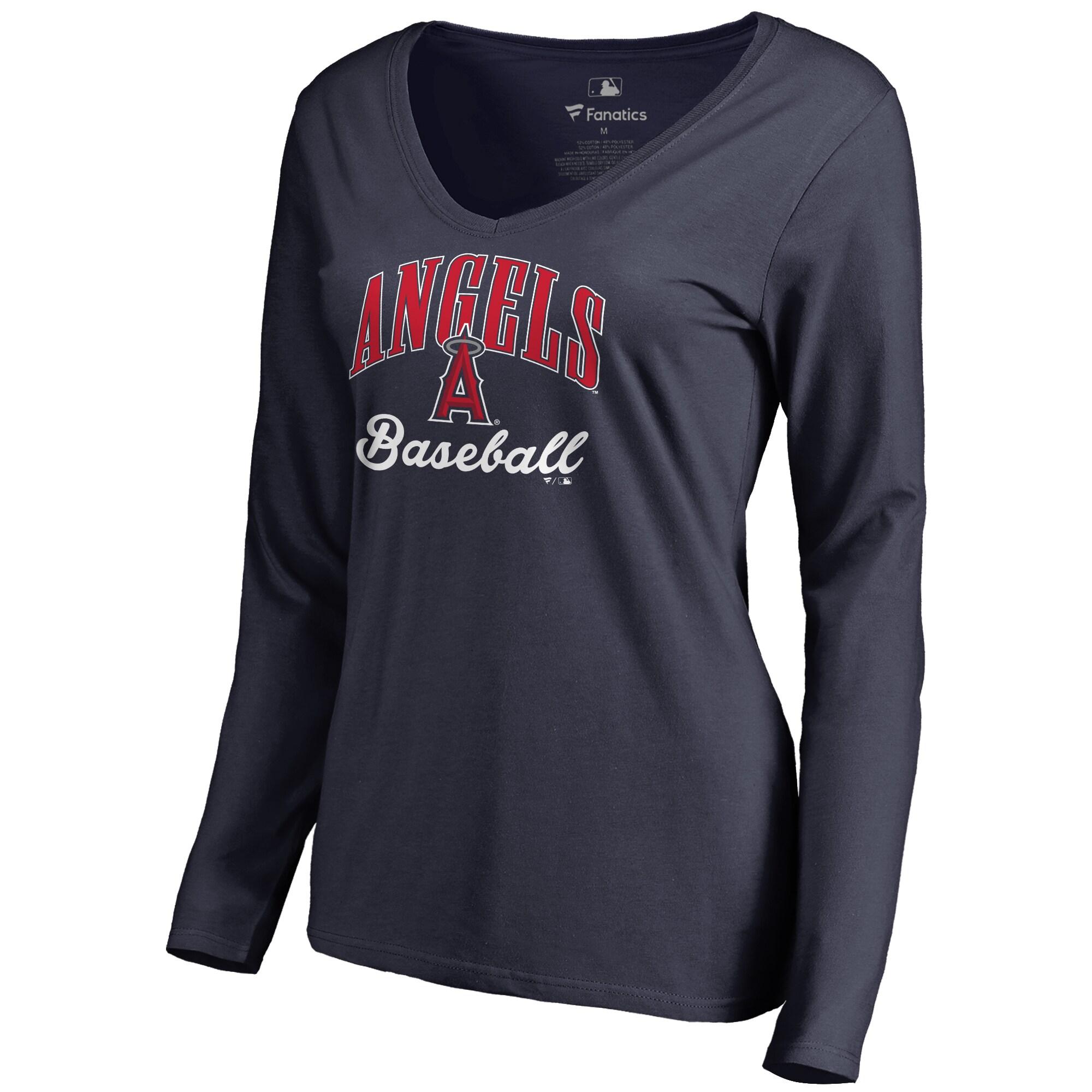 Los Angeles Angels Women's Victory Script Long Sleeve T-Shirt - Navy