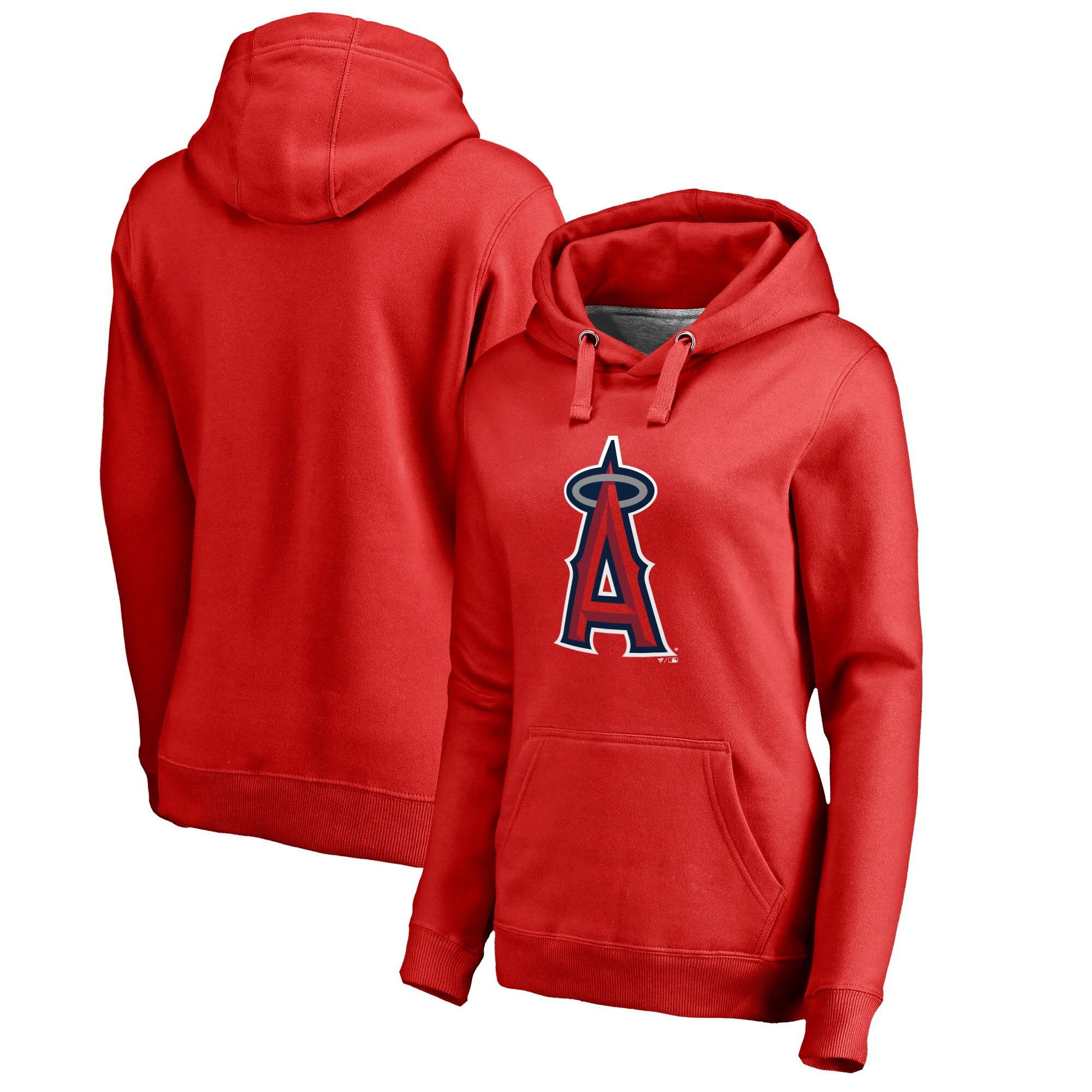 Los Angeles Angels Women's Plus Sizes Primary Logo Pullover Hoodie - Red