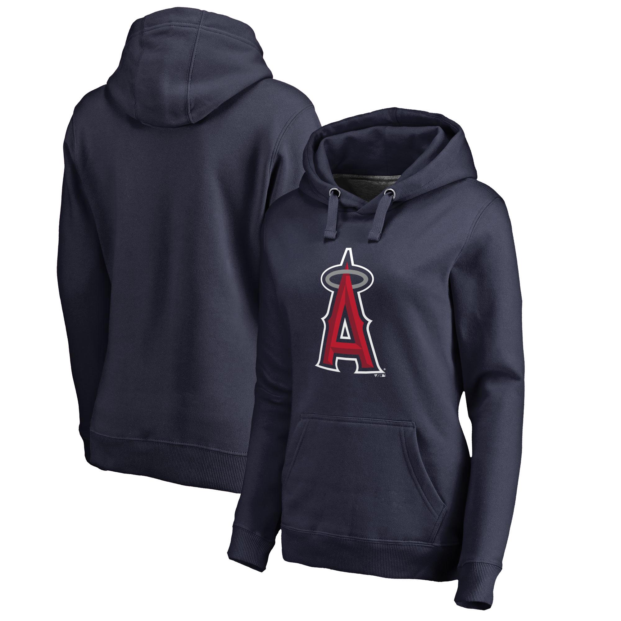 Los Angeles Angels Women's Plus Sizes Primary Team Logo Pullover Hoodie - Navy