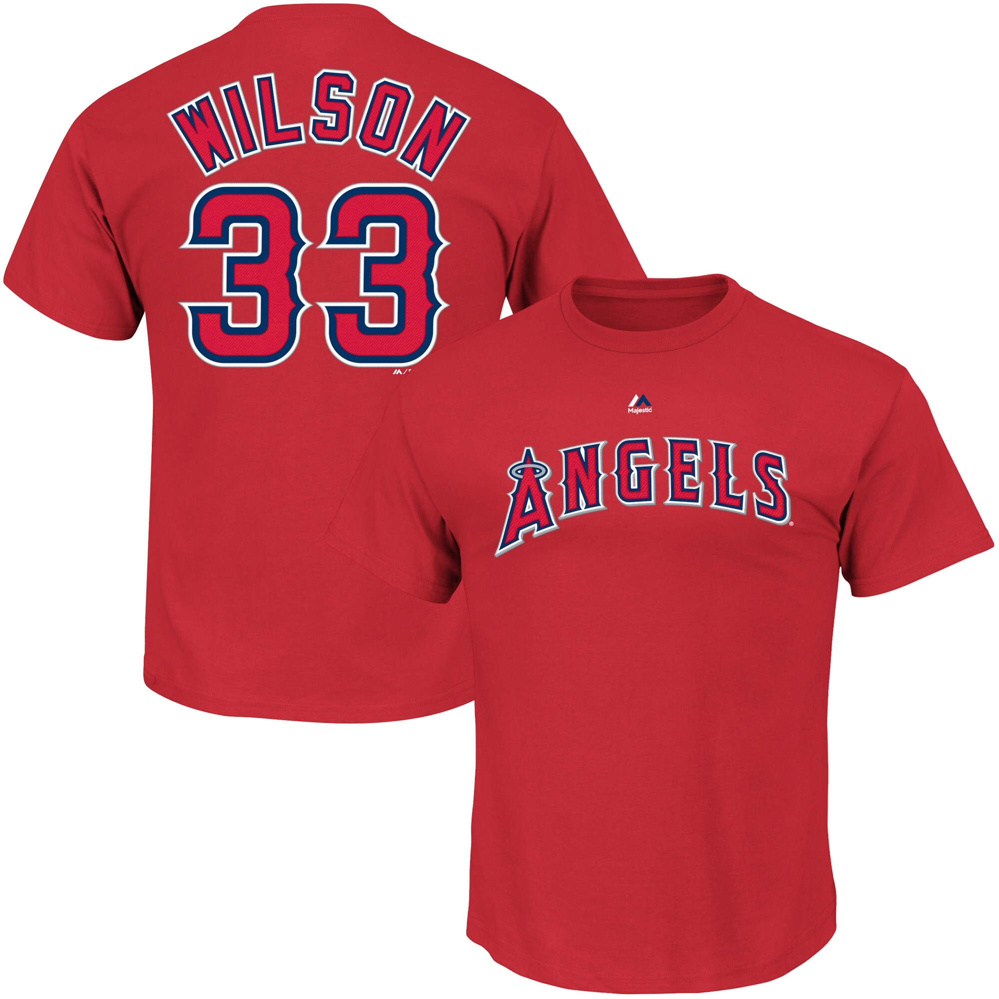 CJ Wilson Los Angeles Angels Majestic Official Name & Number T-Shirt - Scarlet