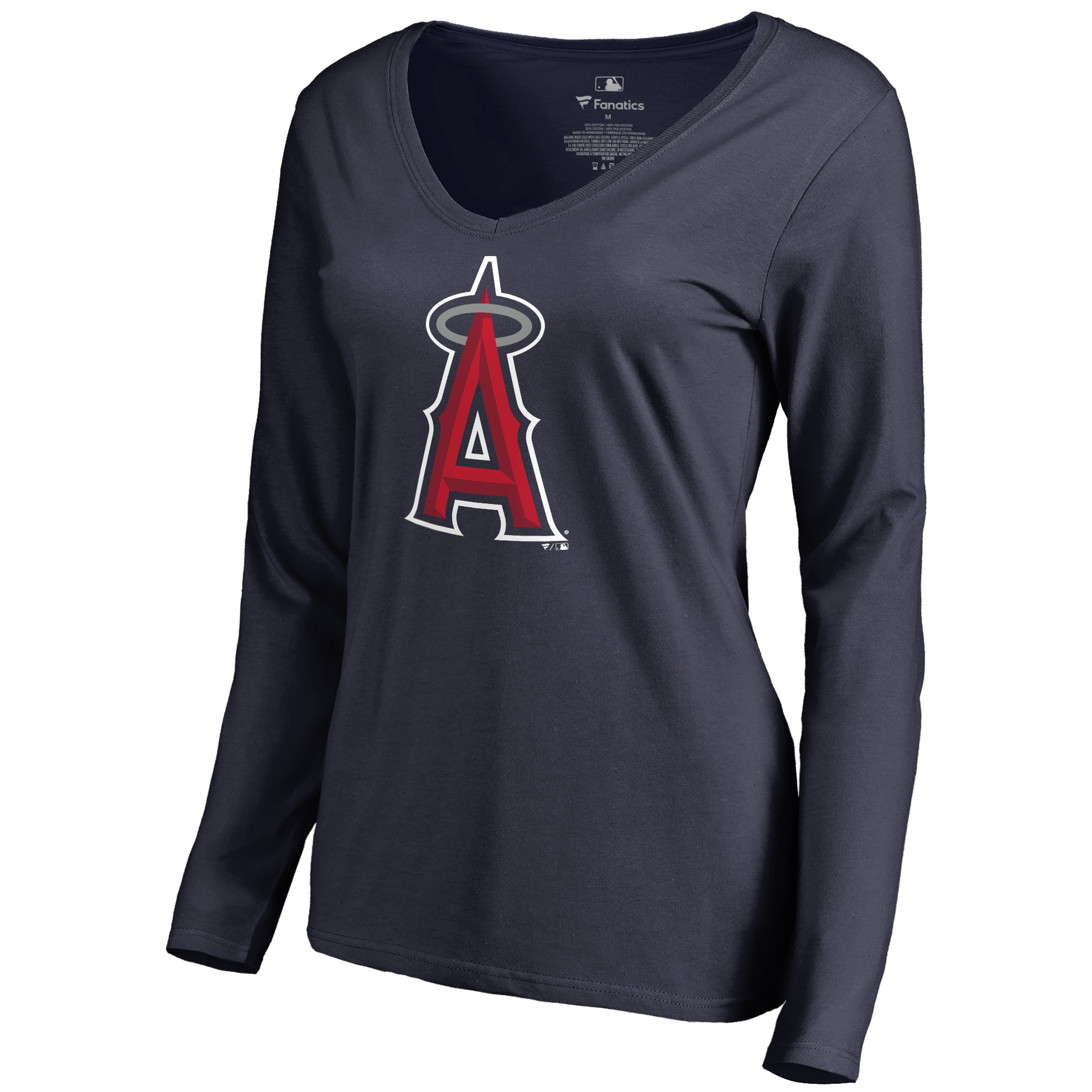 Los Angeles Angels Women's Secondary Color Primary Logo Long Sleeve T-Shirt - Navy
