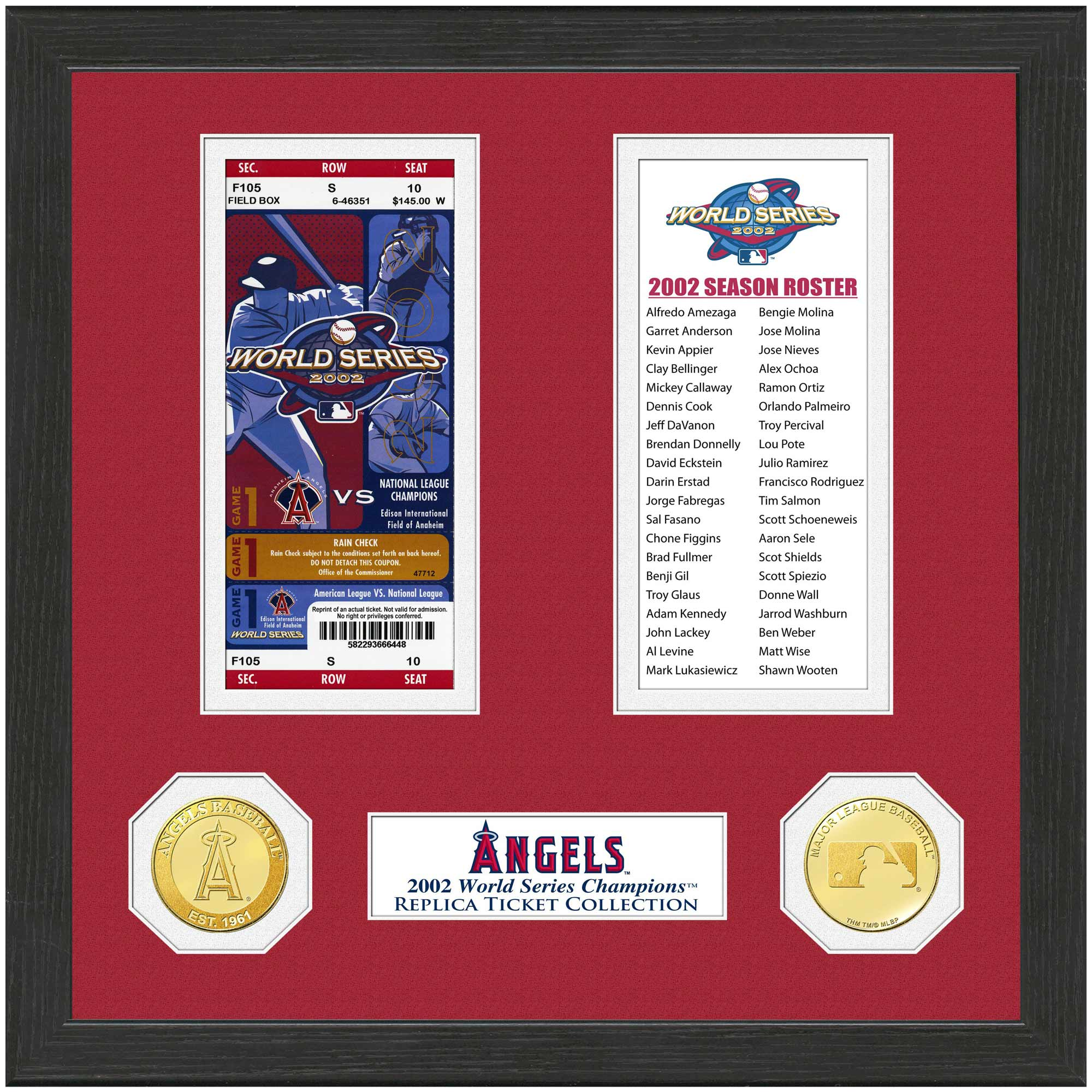"Los Angeles Angels Highland Mint 13"" x 13"" World Series Ticket Collection"