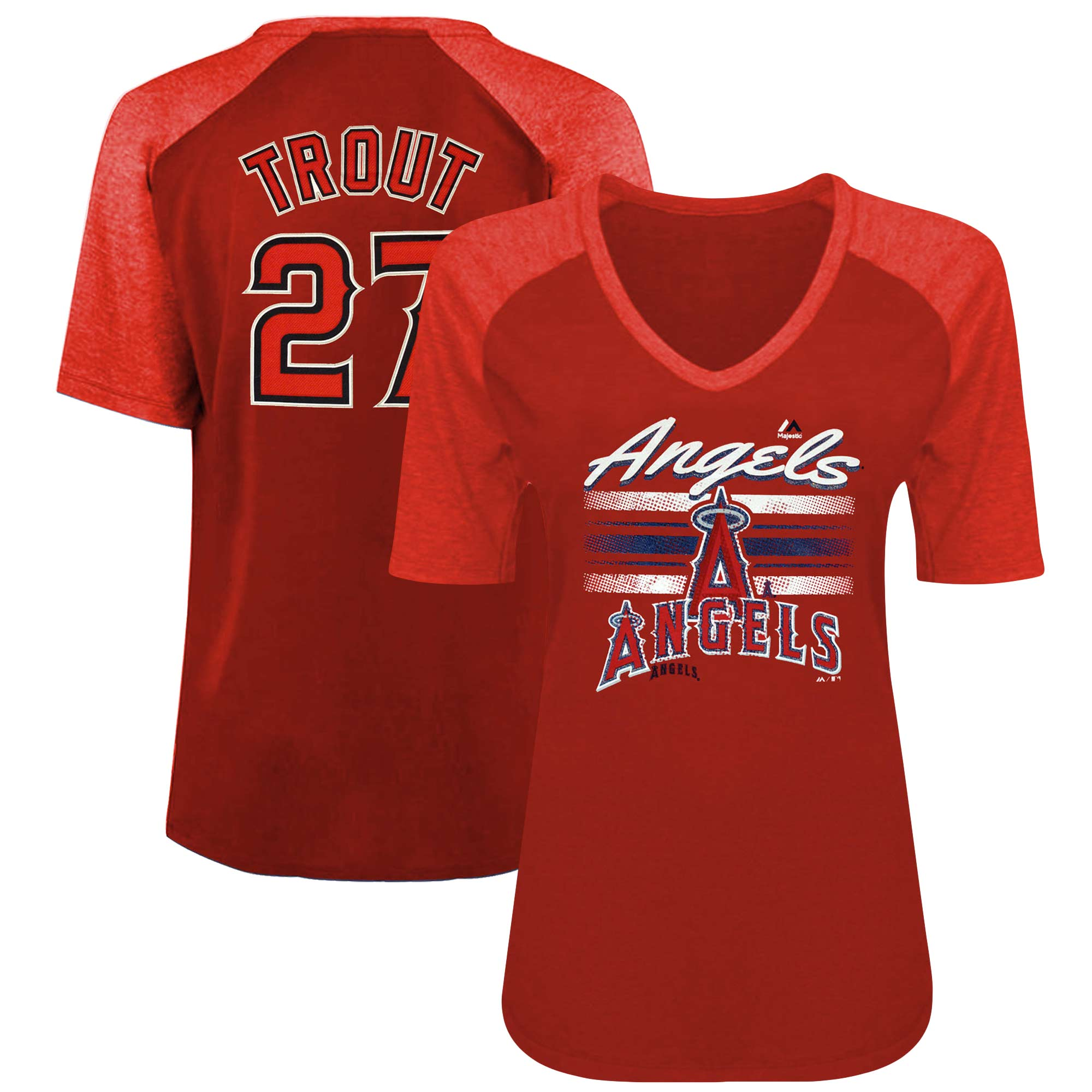 Mike Trout Los Angeles Angels Majestic Women's Plus Size Name & Number 3/4-Sleeve Raglan T-Shirt - Red