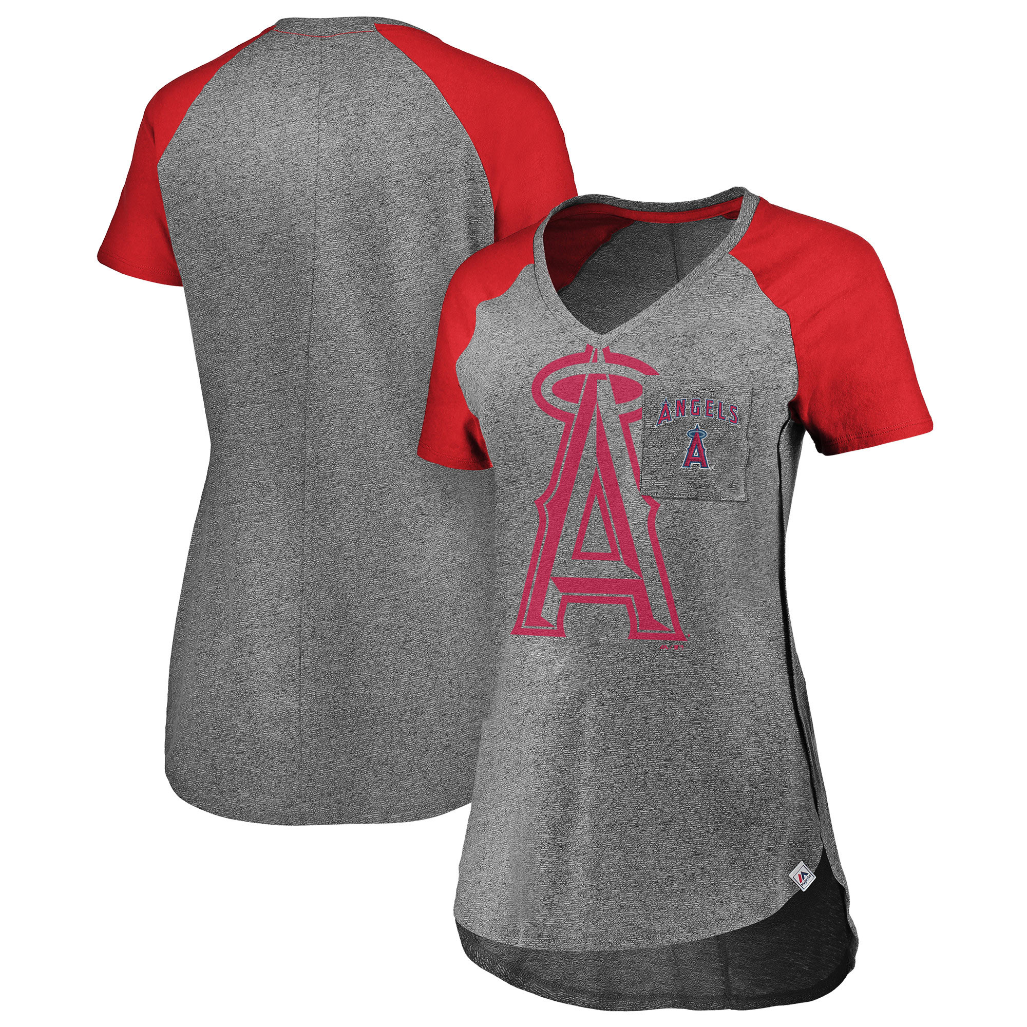 Los Angeles Angels Majestic Women's Static Pocket Raglan V-Neck T-Shirt - Gray/Red