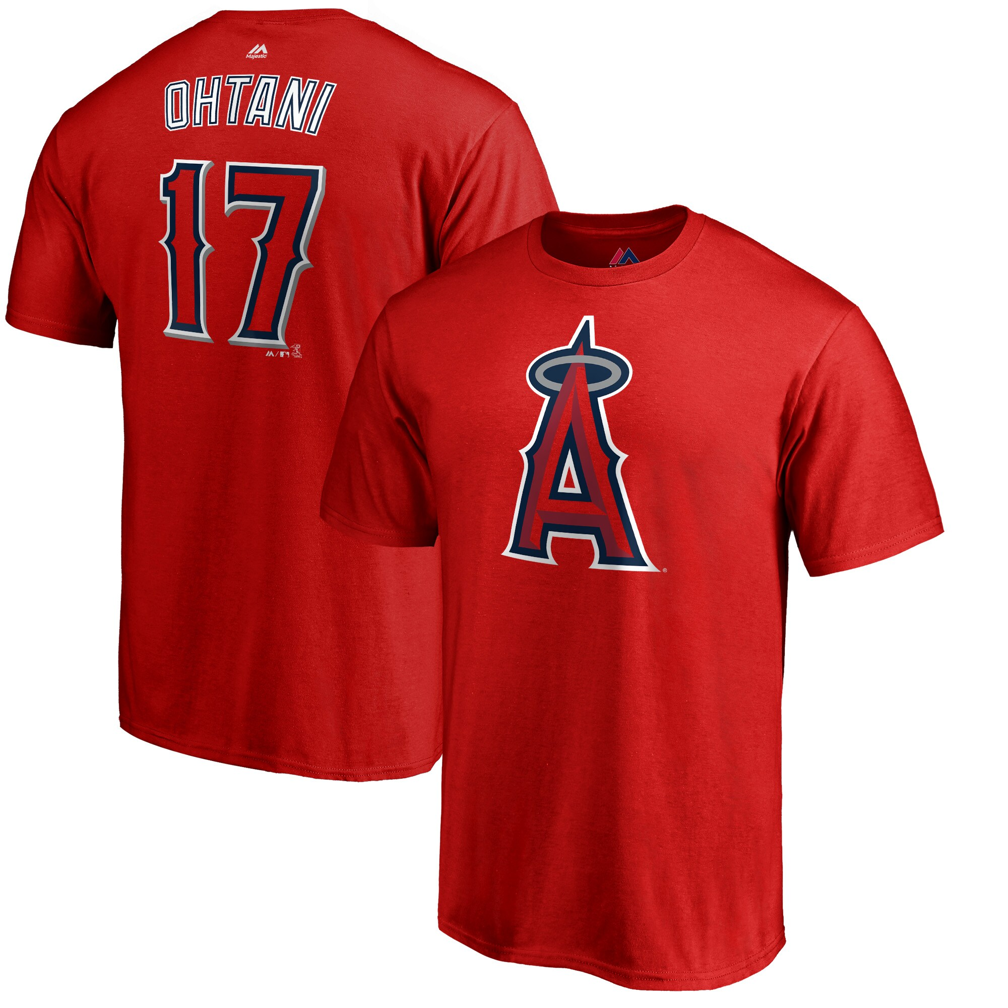 Shohei Ohtani Los Angeles Angels Majestic Double Play Cap Logo Name & Number T-Shirt - Red
