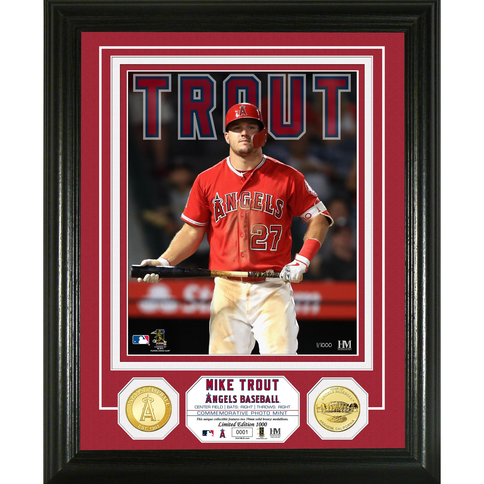 Mike Trout Los Angeles Angels Highland Mint Bronze Coin Photo Mint