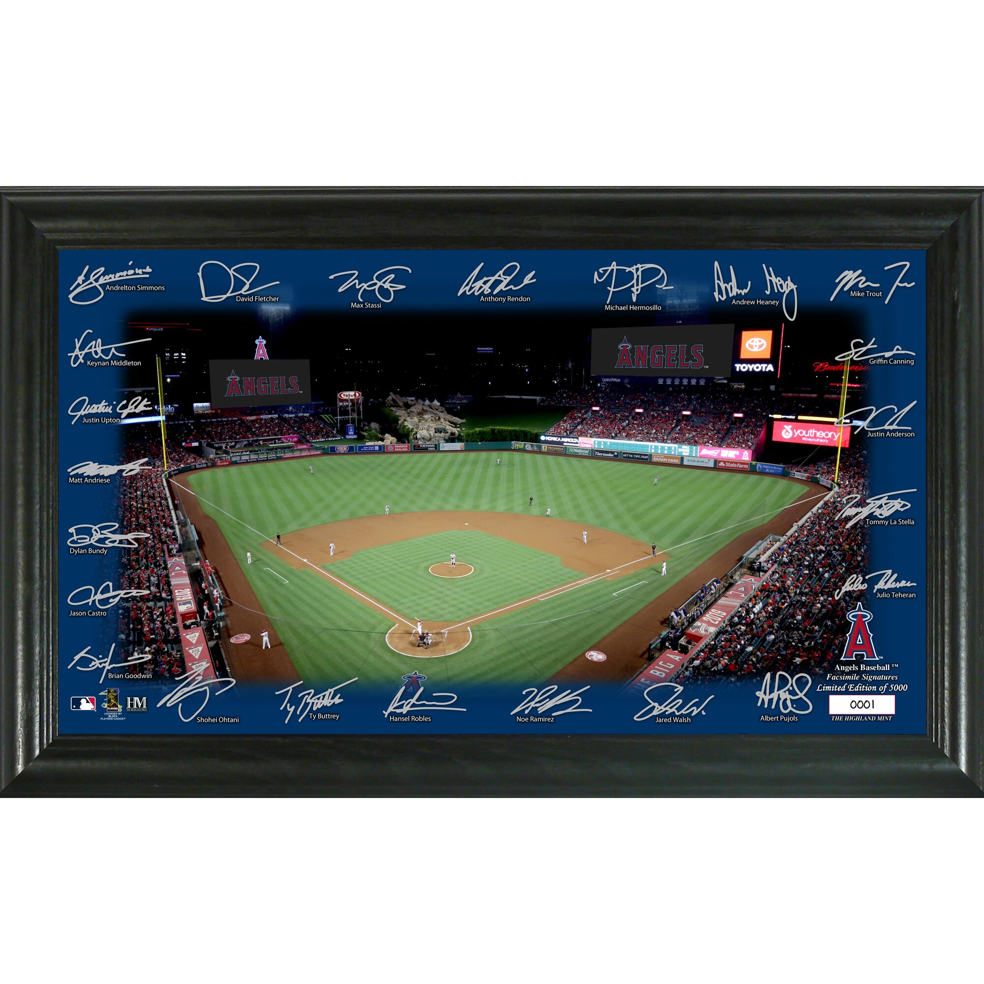 Los Angeles Angels Highland Mint 12'' x 20'' Signature Field Limited Editon Framed Photo Mint
