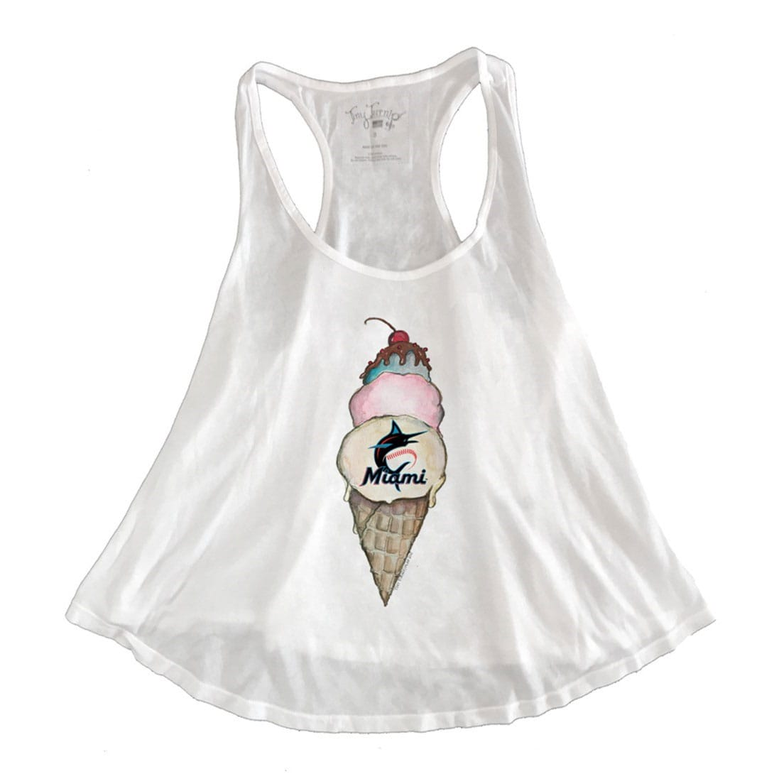 Miami Marlins Tiny Turnip 2019 Aubri Ice Cream Racerback Tank Top - White
