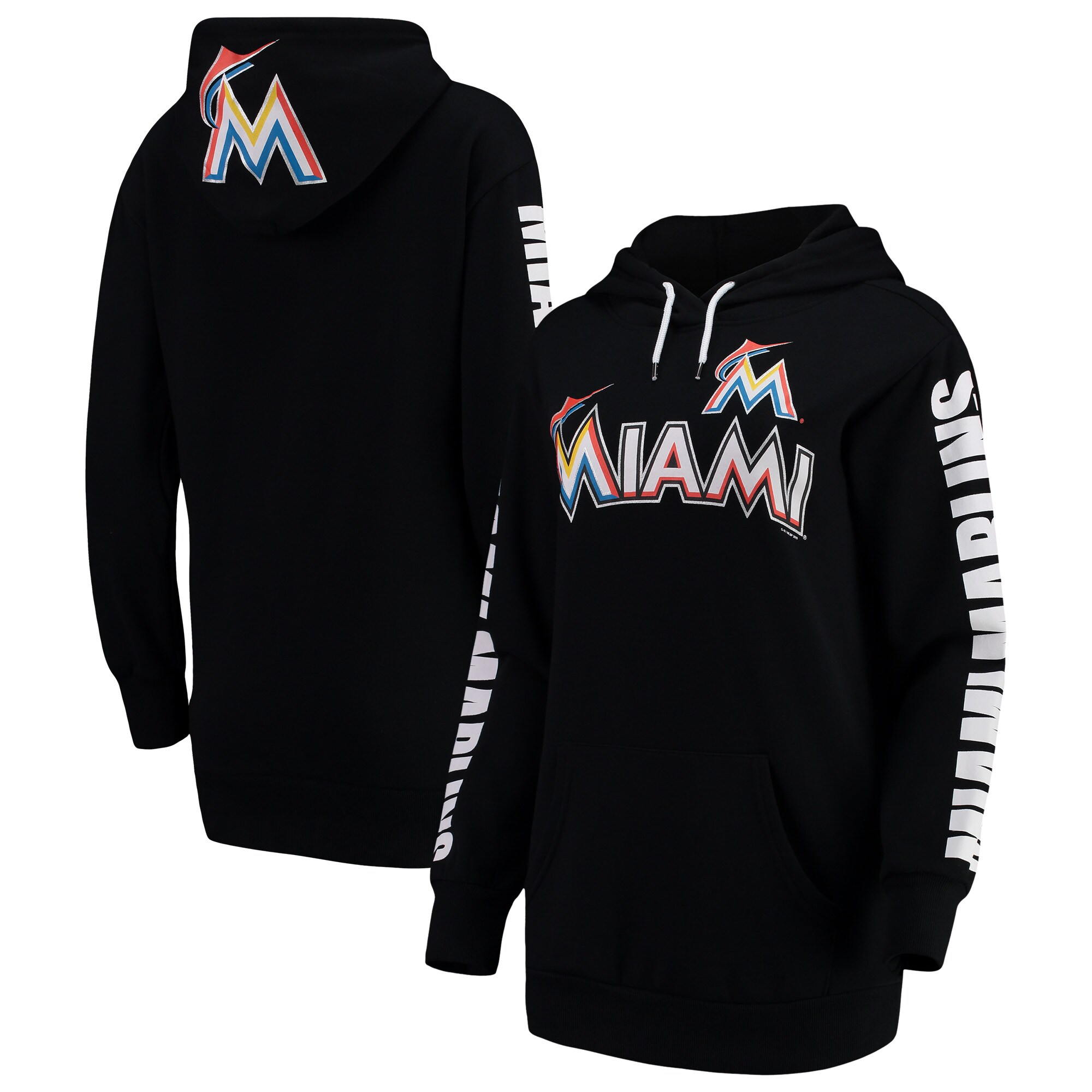 Miami Marlins G-III 4Her by Carl Banks Women's Extra Innings Pullover Hoodie - Black